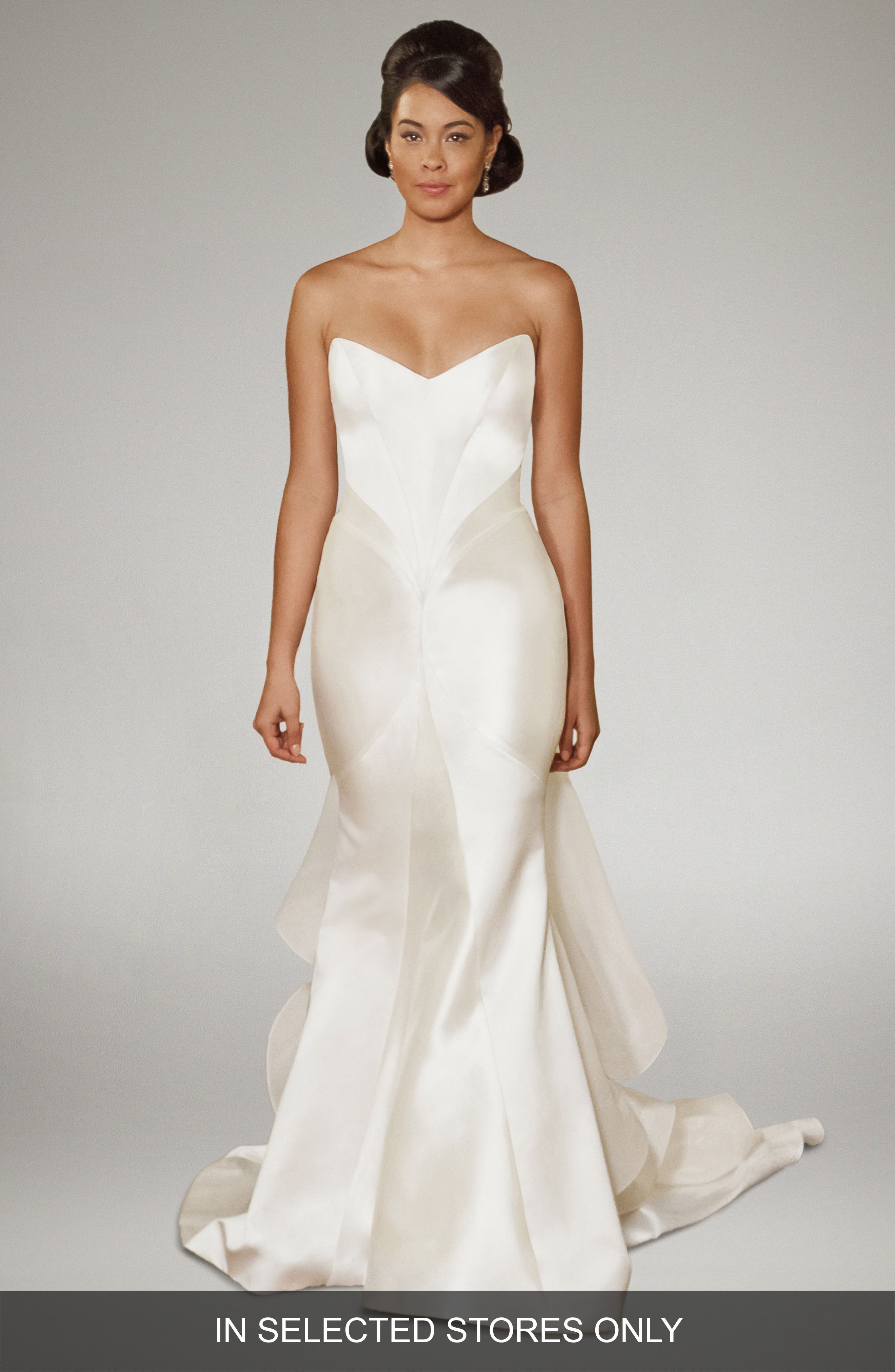 Matthew Christopher Arya Strapless Silk Trumpet Gown