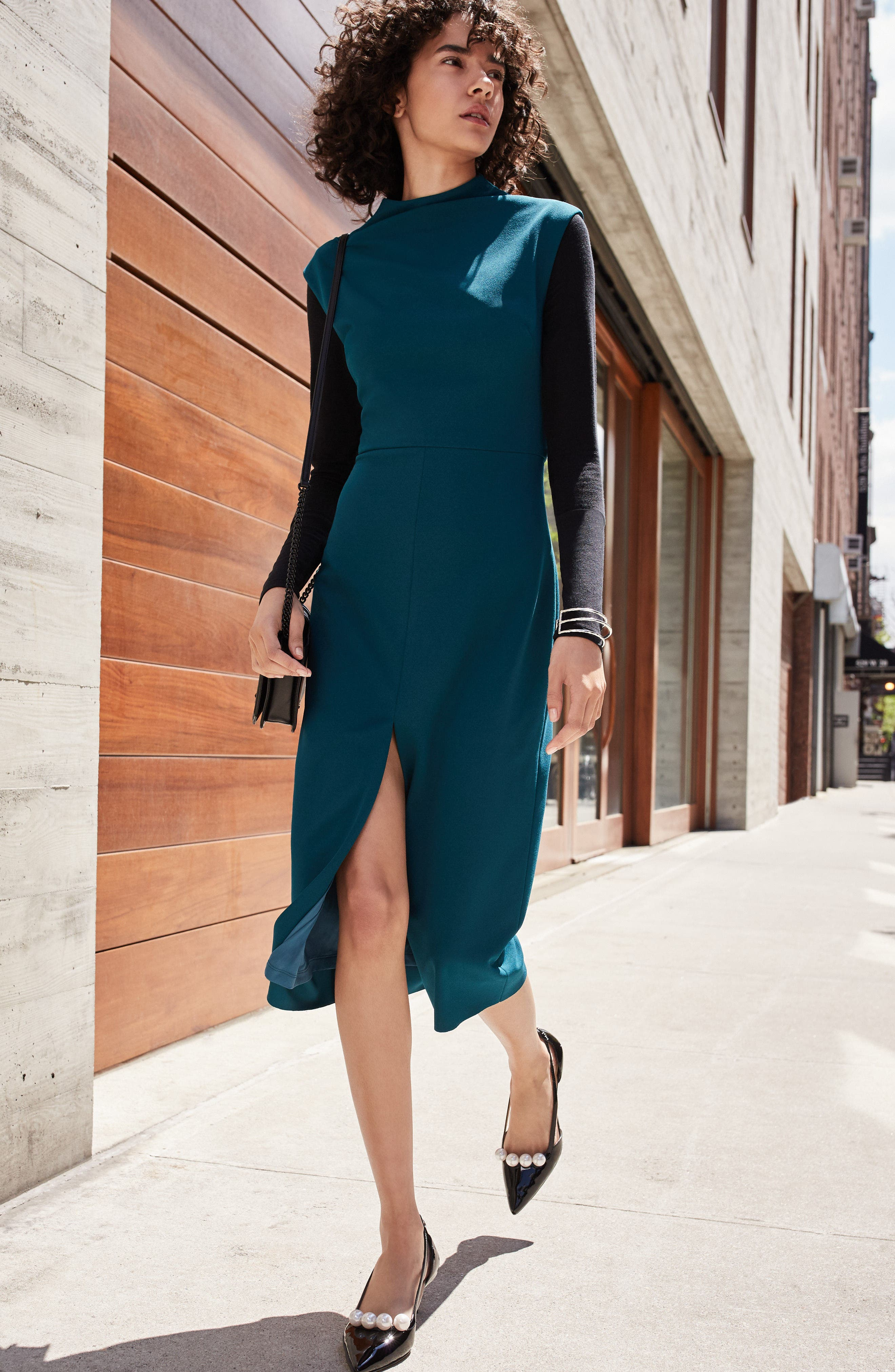 Crepe Midi Dress,                             Alternate thumbnail 2, color,