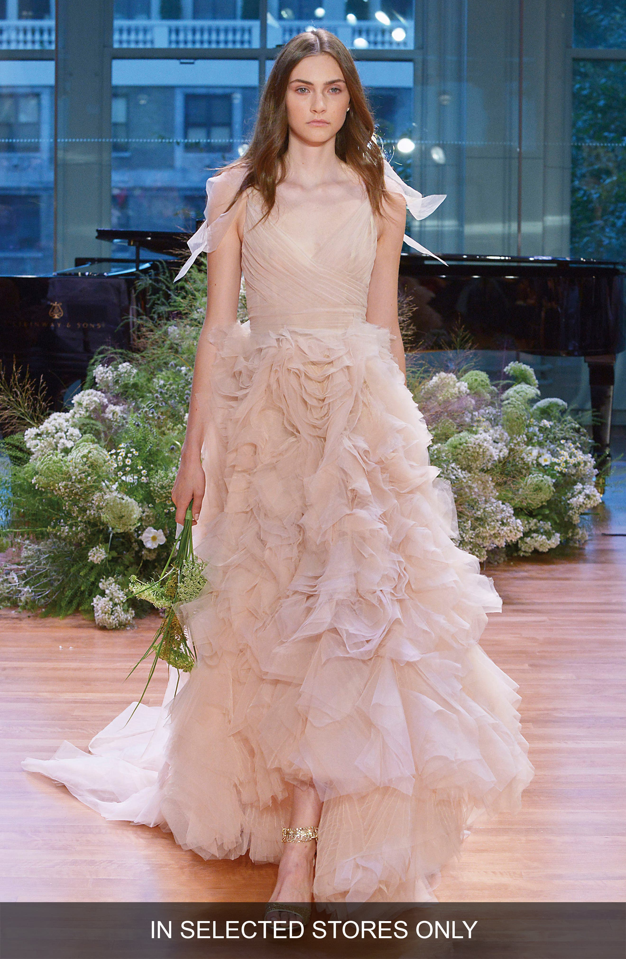 Ballad Surplice Tulle & Organza High/Low Gown,                         Main,                         color, Dusty Rose