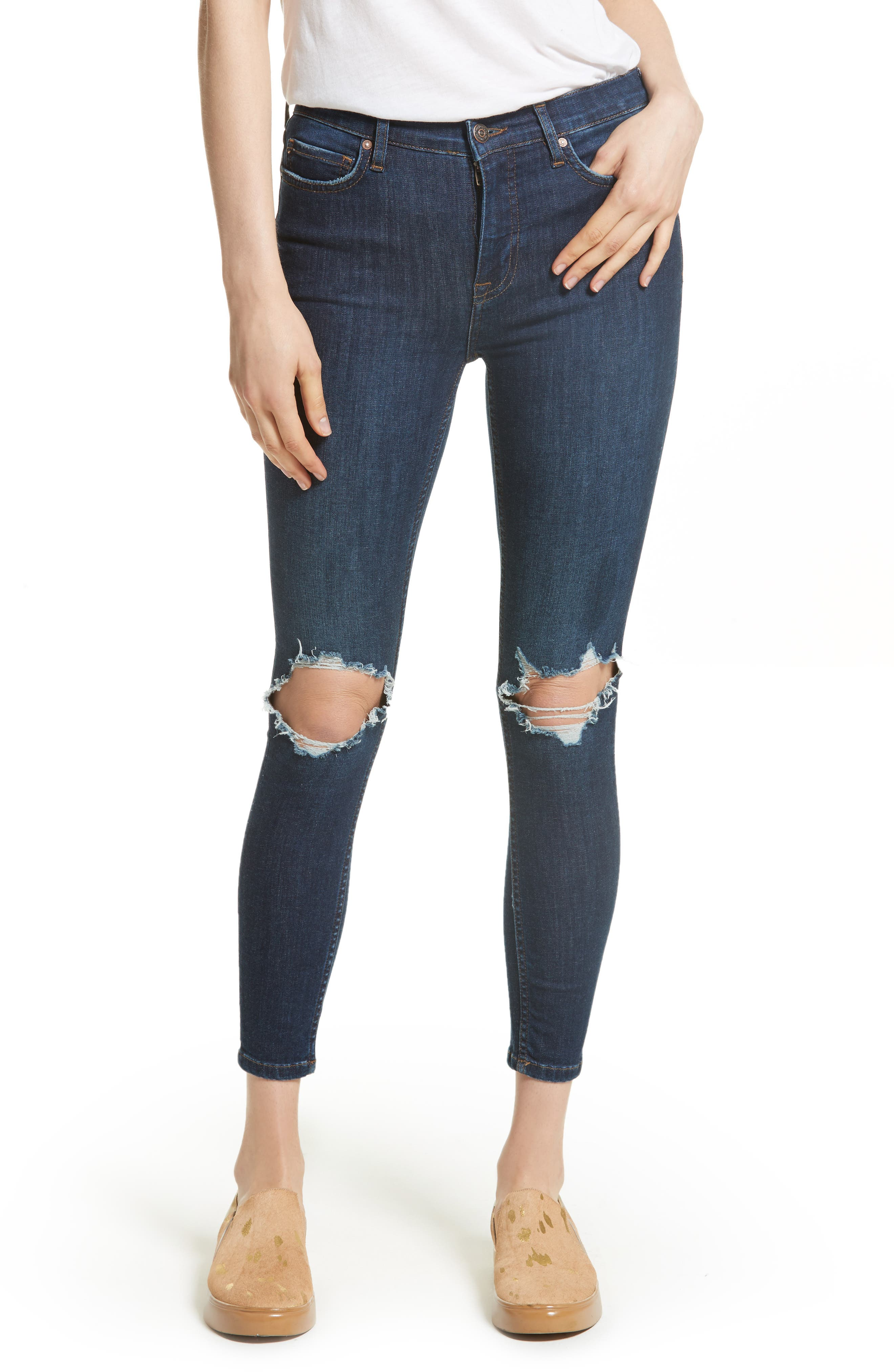 Main Image - Free People High Rise Busted Knee Skinny Jeans (Dark Blue)