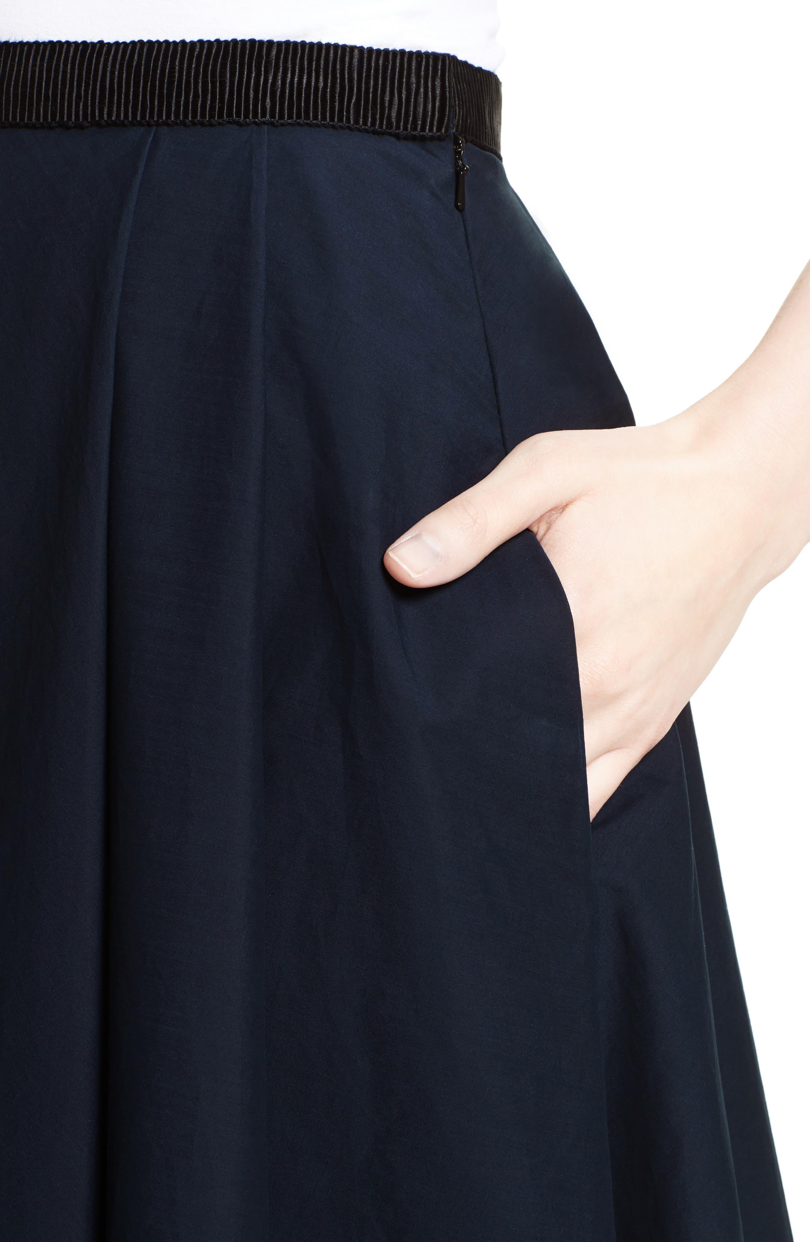 Ruffle Cotton A-Line Skirt,                             Alternate thumbnail 5, color,                             Navy