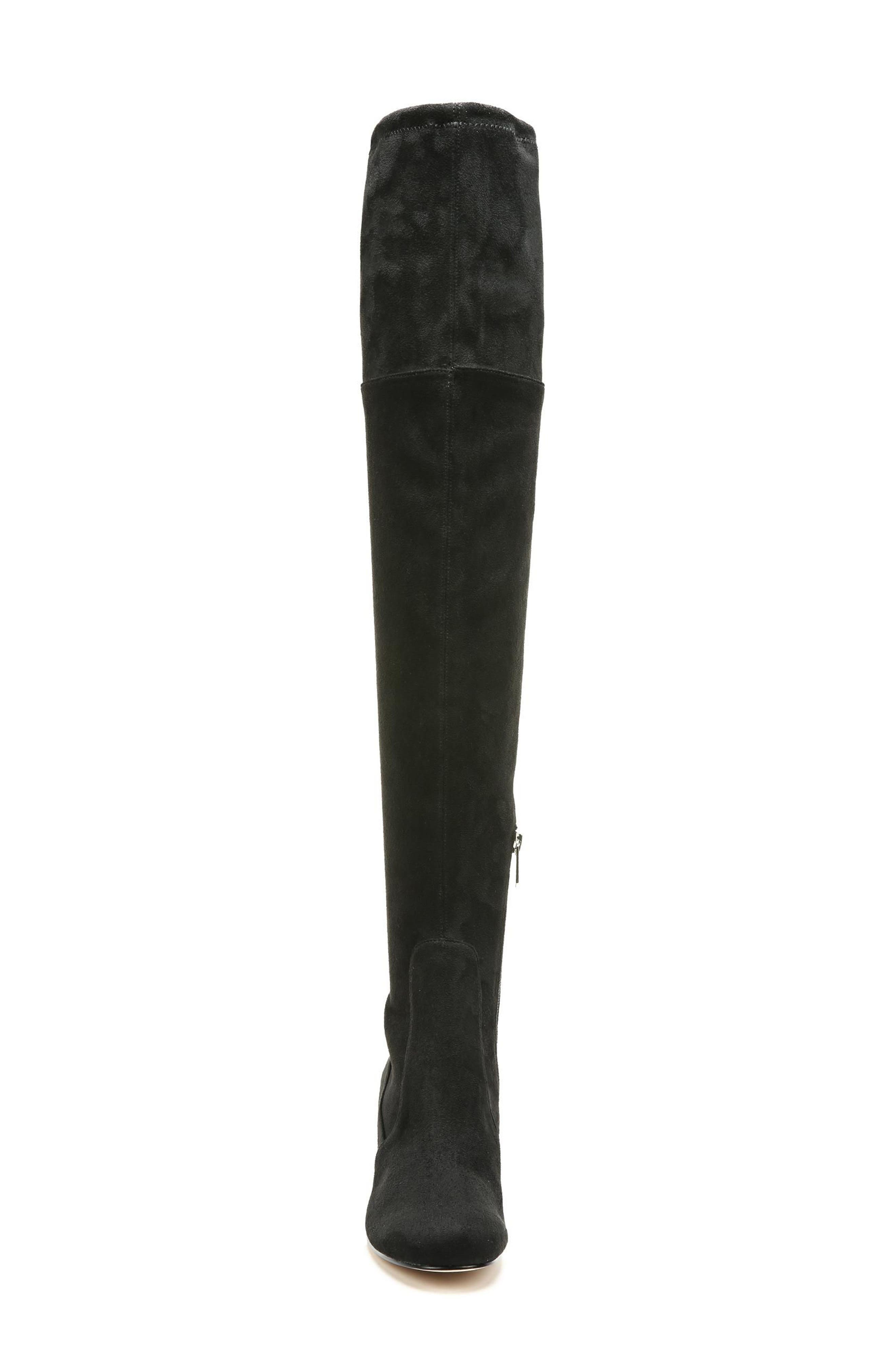 Varona Over the Knee Boot,                             Alternate thumbnail 4, color,                             Black Stretch Fabric