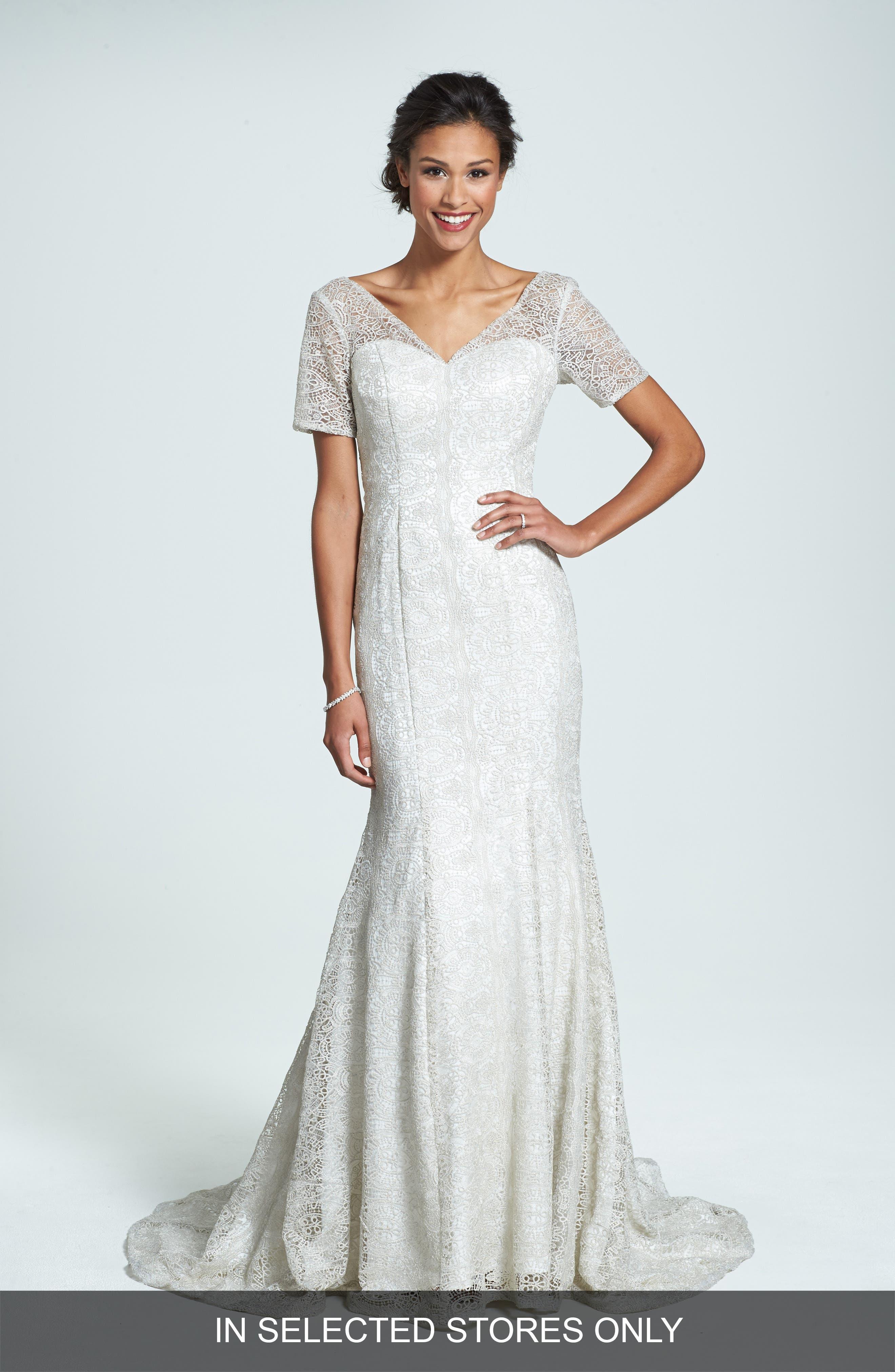 Olia Zavozina Ivy Metallic Lace Trumpet Gown