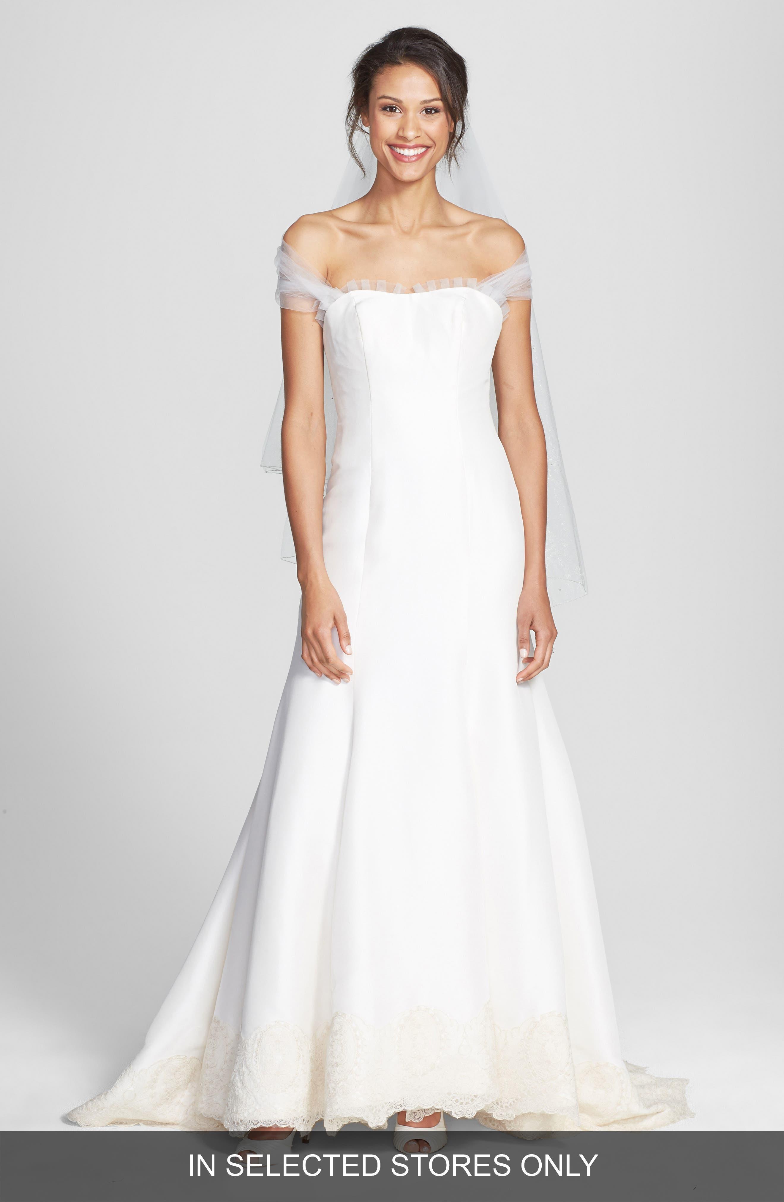Olia Zavozina Savannah Removable Illusion Halter Lace Trim Silk Shantung Gown