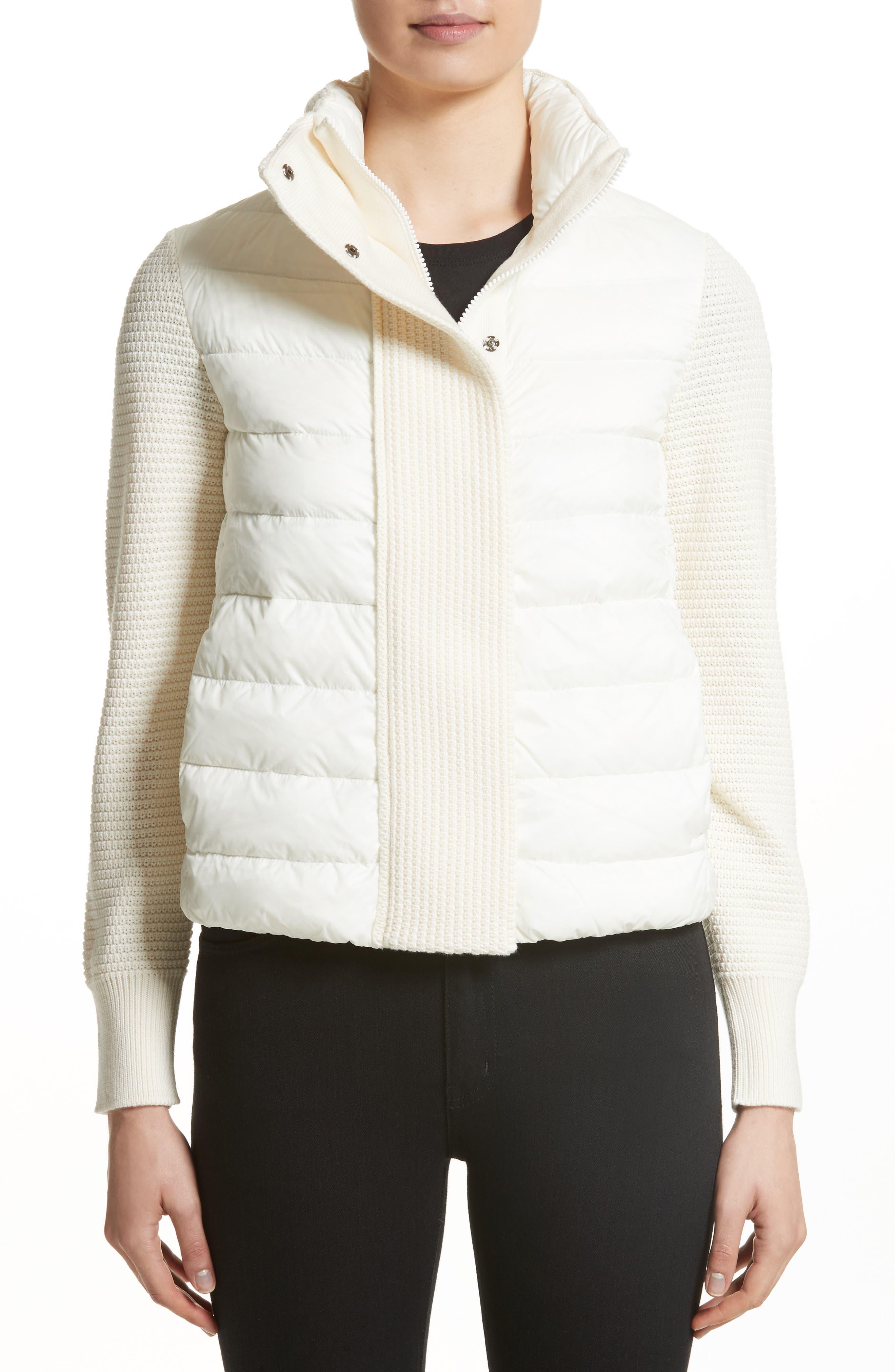 Mixed Media Down Jacket,                         Main,                         color, White