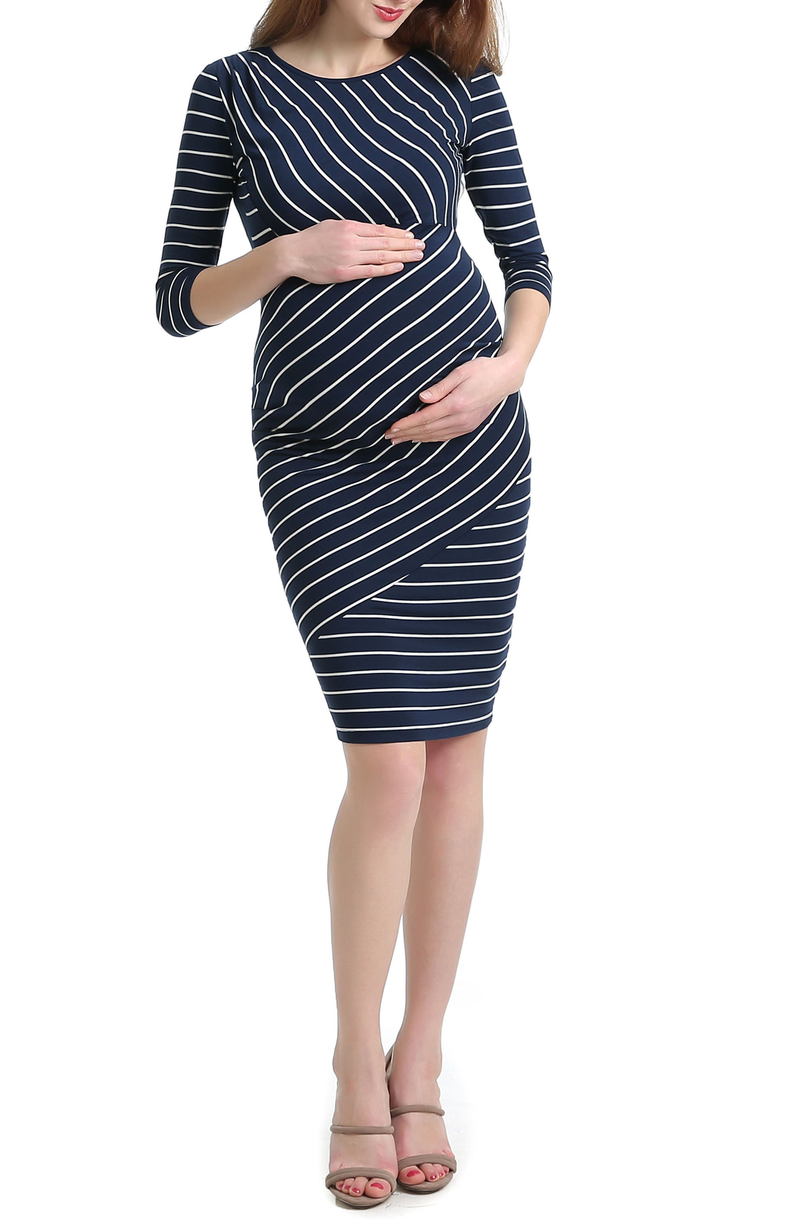 Halina Stripe Maternity Body-Con Dress,                         Main,                         color, Navy/ Ivory