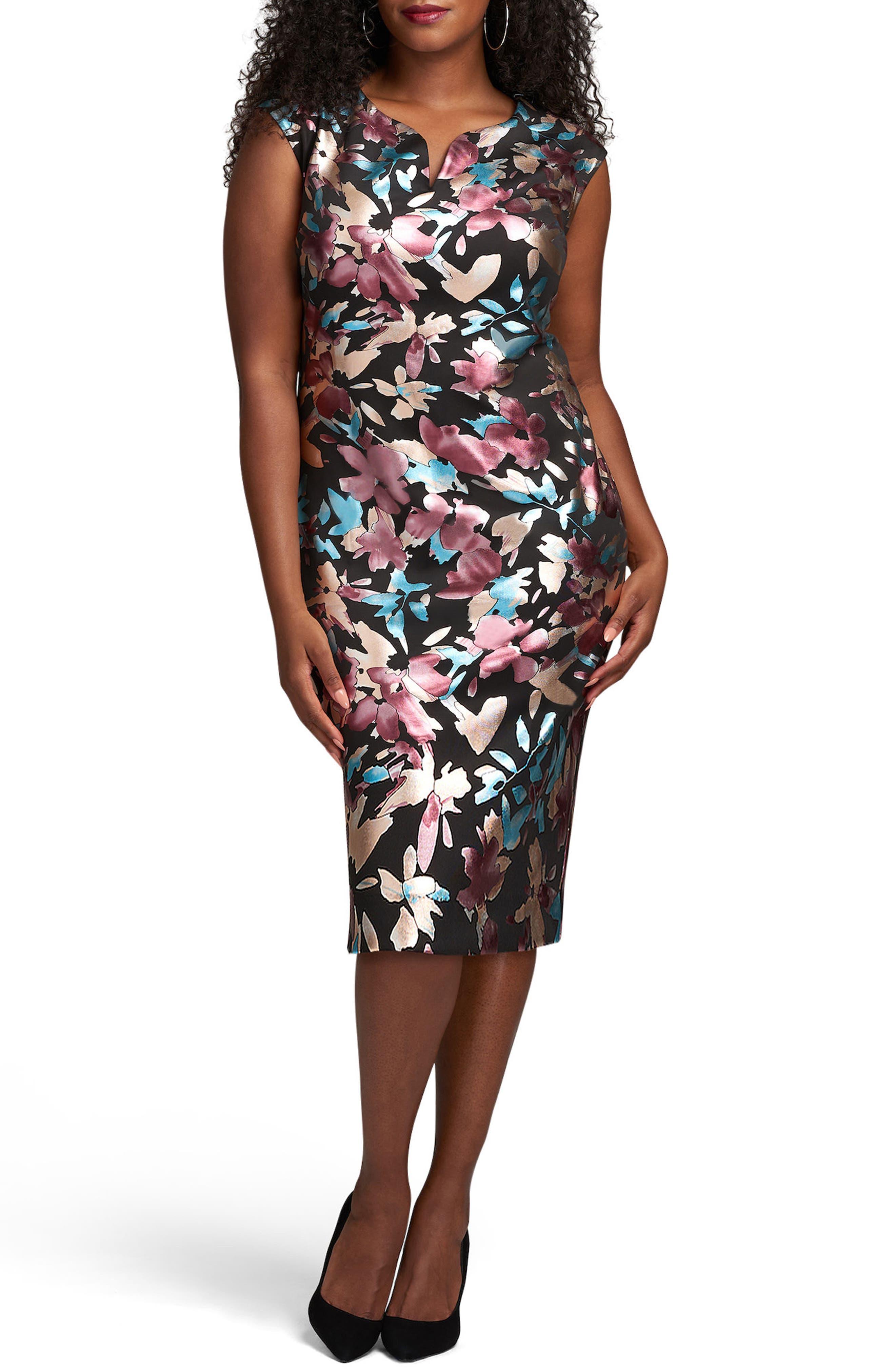 ECI Floral Print Scuba Midi Sheath Dress (Plus Size)