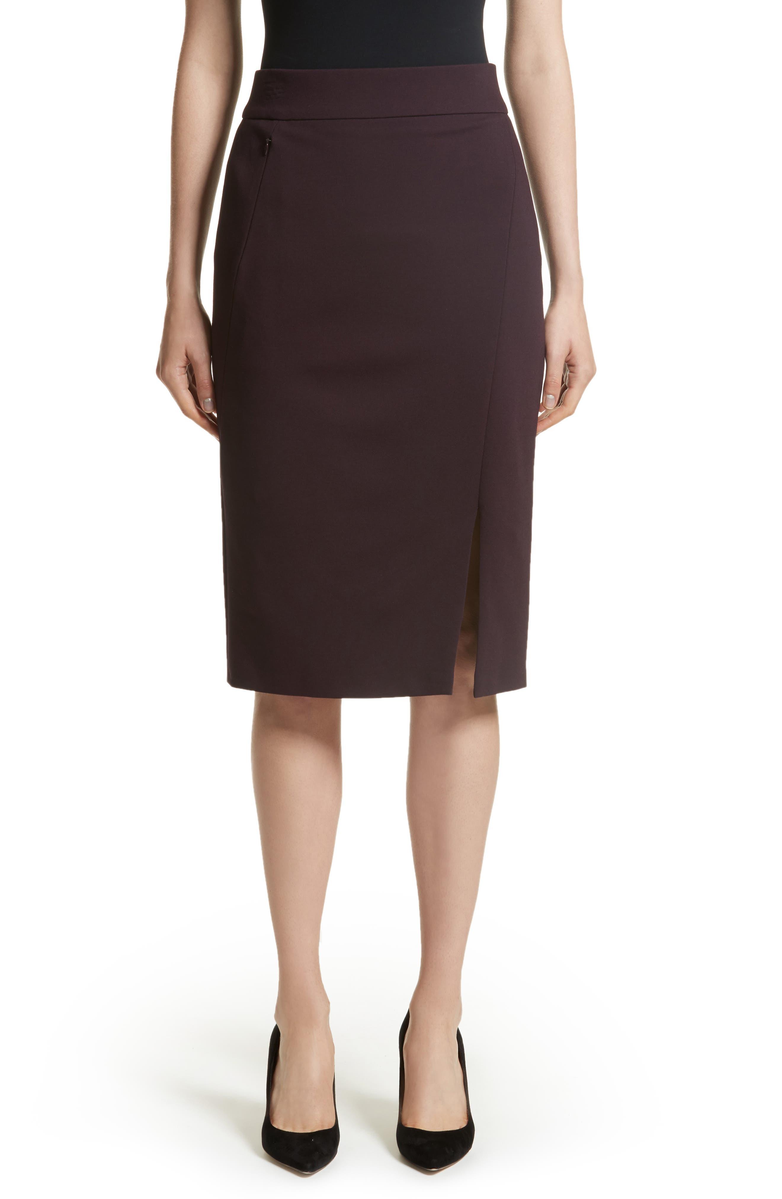 Gabardine Pencil Skirt,                         Main,                         color, Wine
