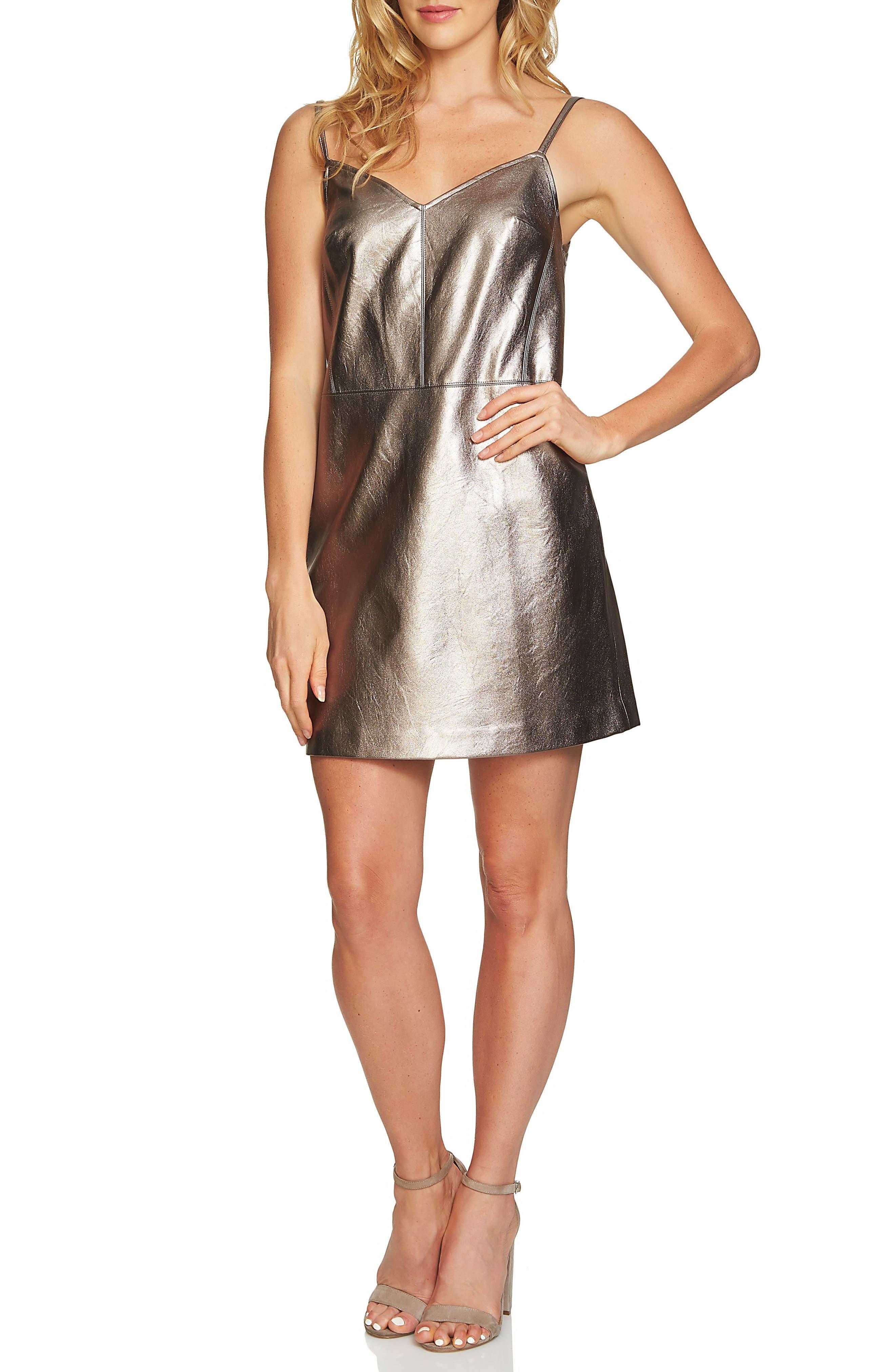 Metallic Faux Leather Slipdress,                         Main,                         color, Silver Foil