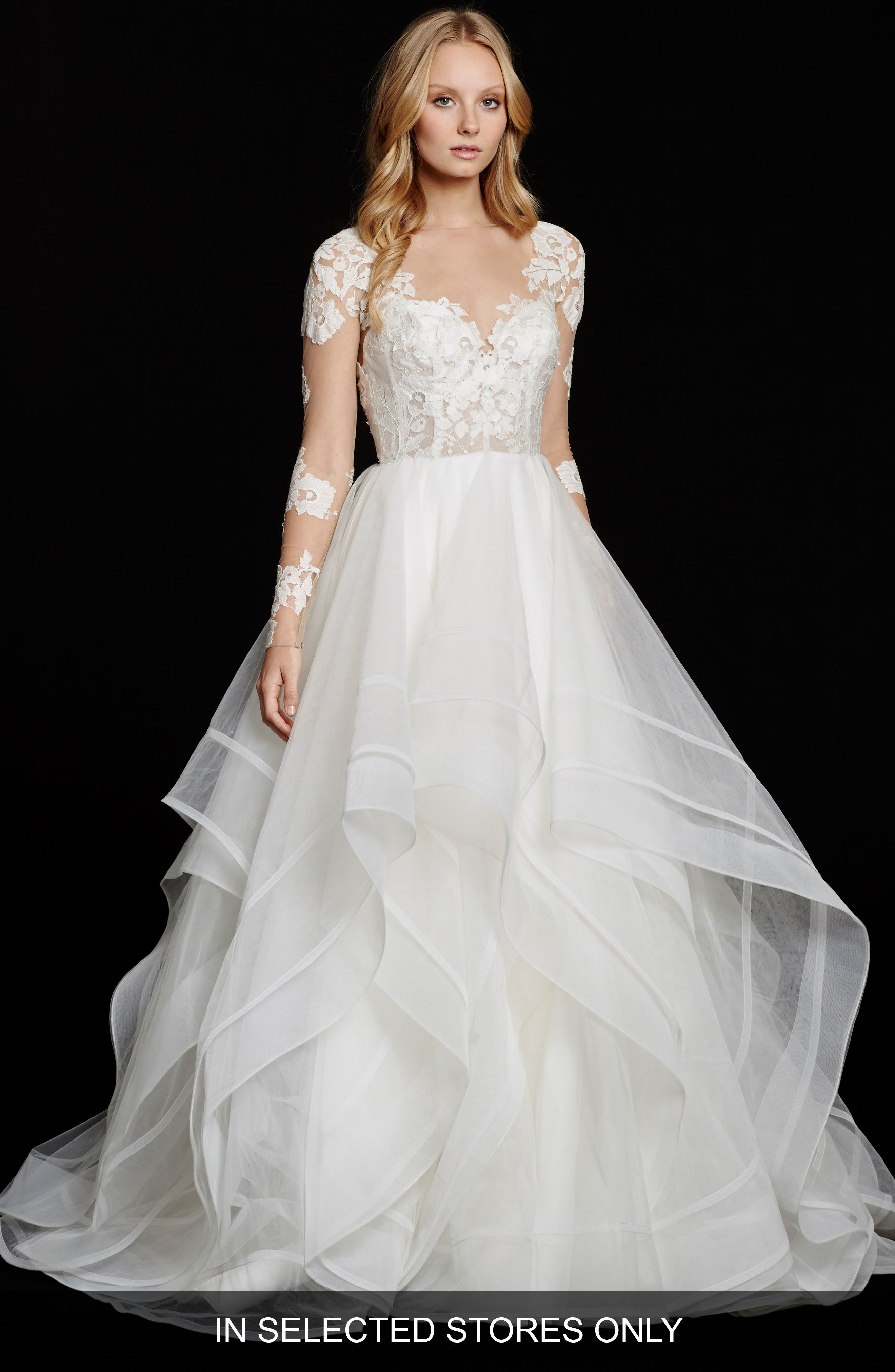 Elysia Long Sleeve Lace & Tulle Ballgown,                         Main,                         color, Ivory