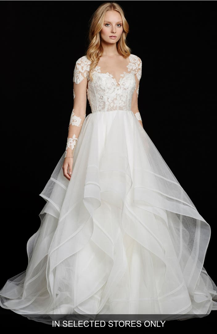 Hayley paige elysia long sleeve lace tulle ballgown for Long sleeve lace maternity wedding dress