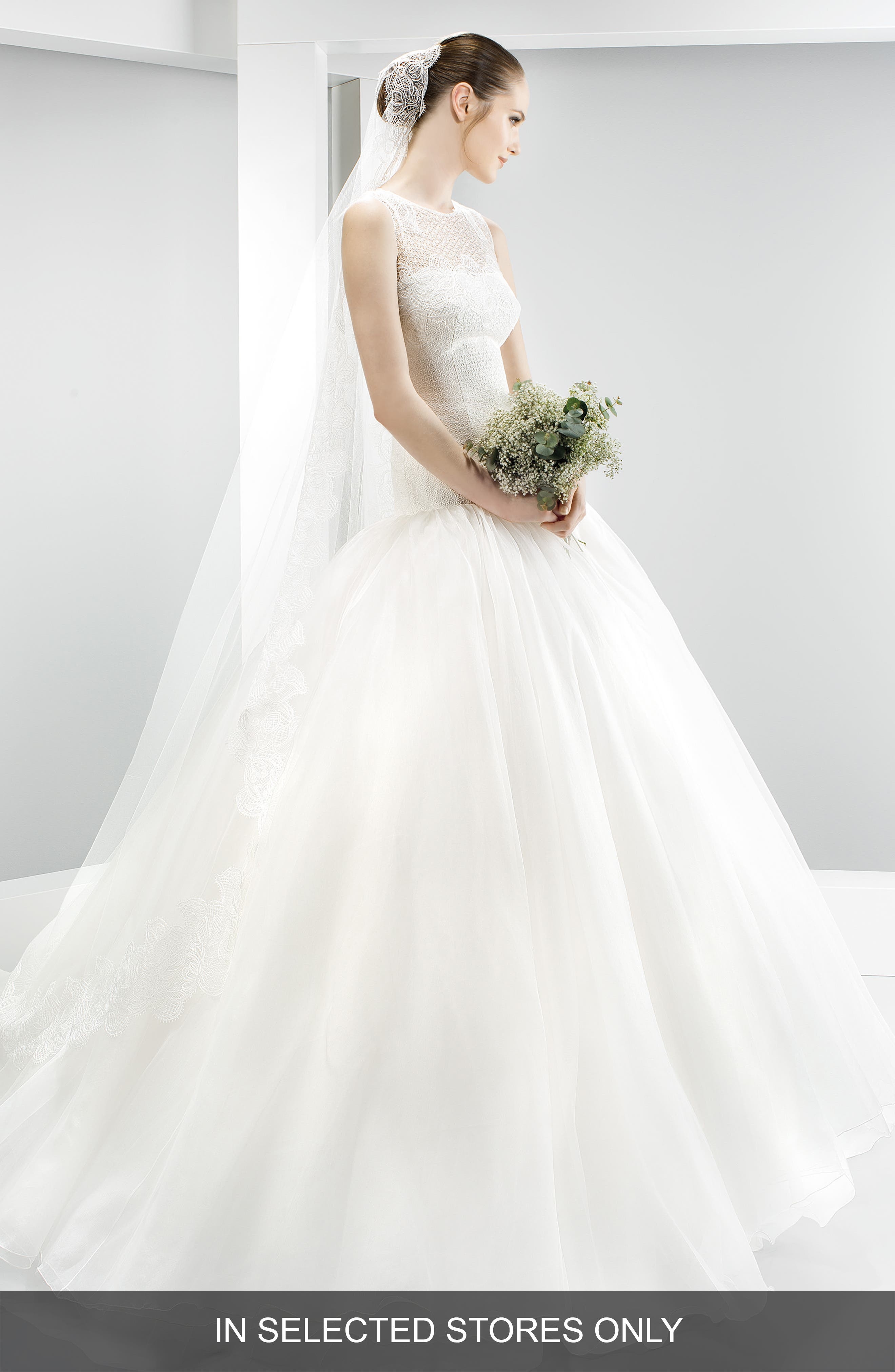 Embroidered Bodice Organza Drop Waist Gown,                             Main thumbnail 1, color,                             Ivory