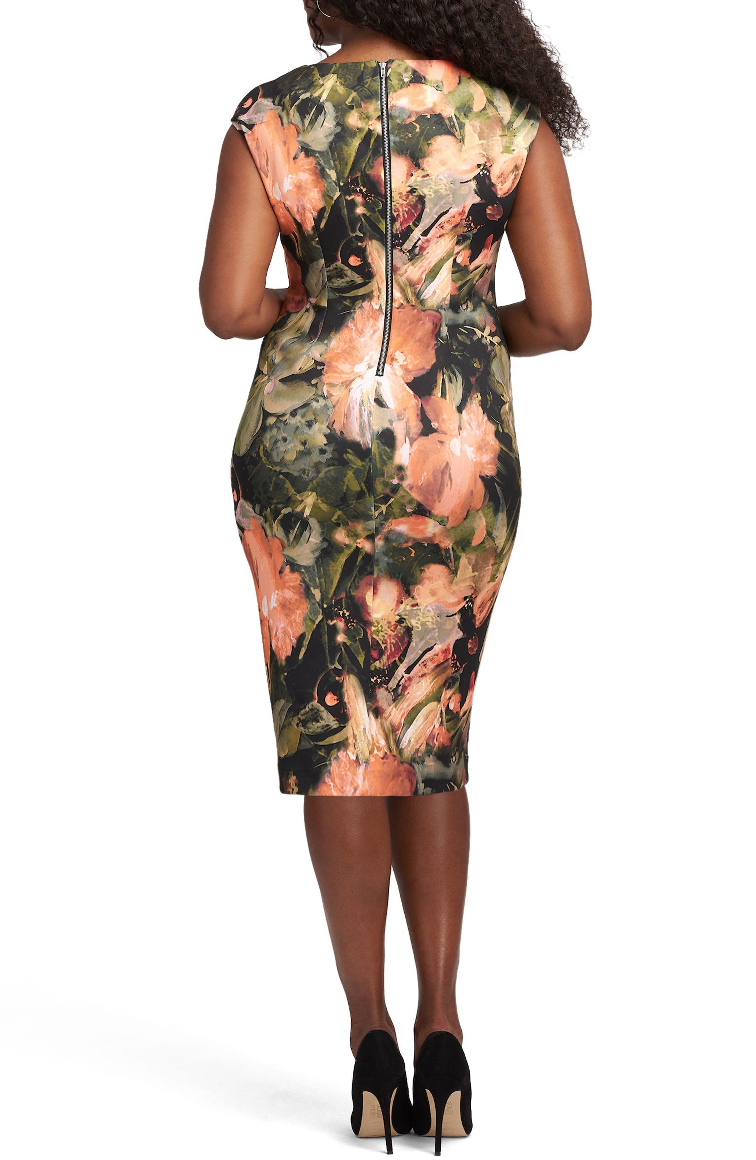 Alternate Image 2  - ECI Tie Neck Scuba Sheath Dress (Plus Size)