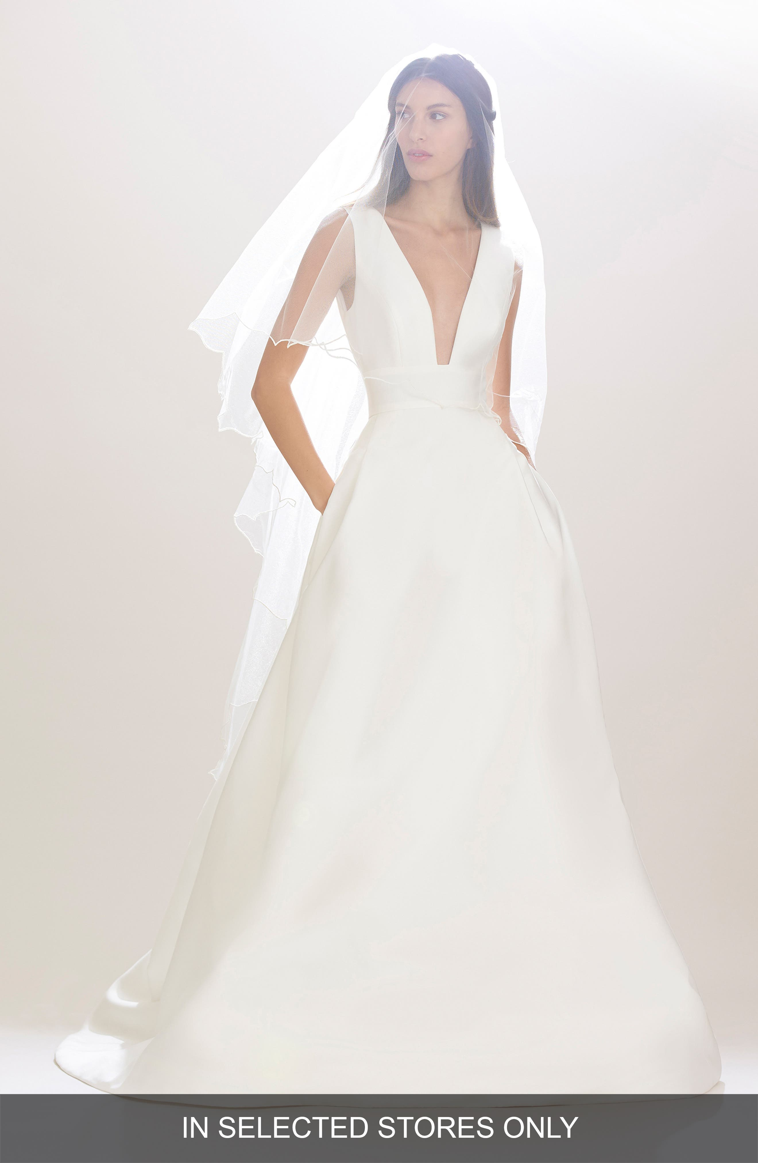 Carolina Herrera 'Mason' Plunging V-Neck Silk Mikado Ballgown (In Stores Only)
