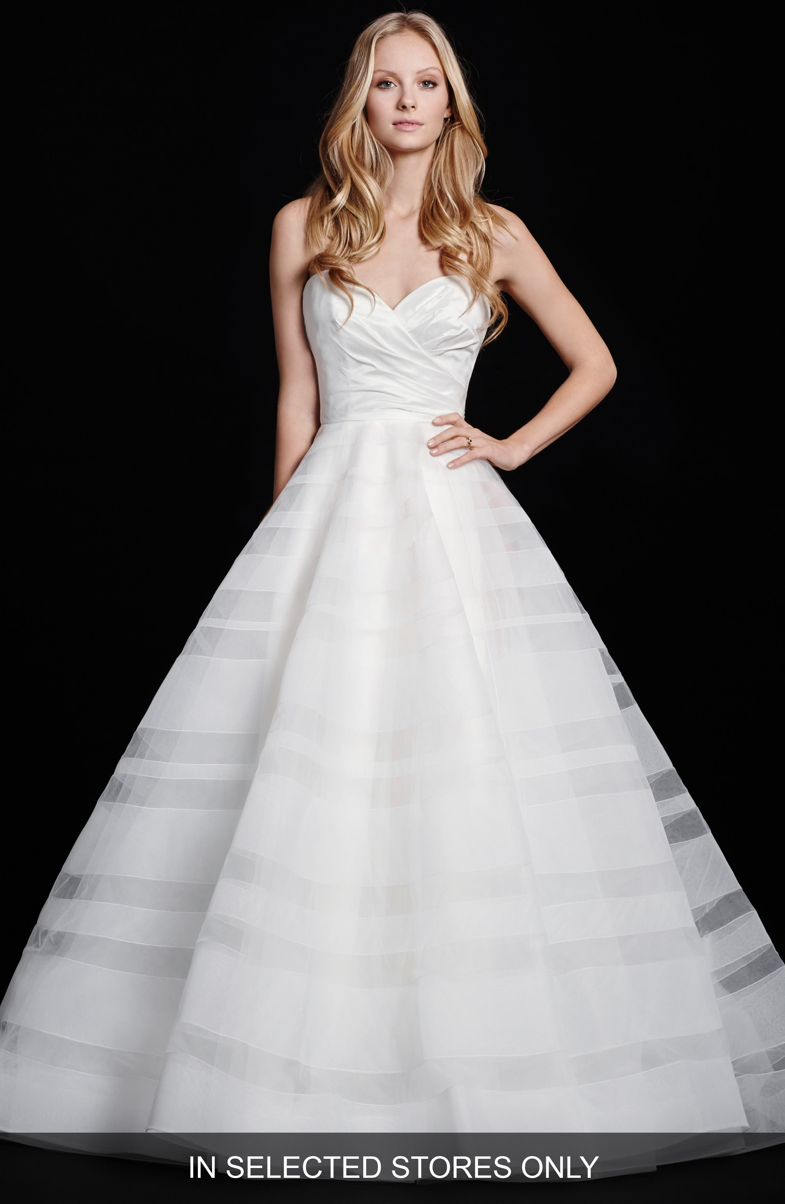 Main Image - Hayley Paige Lily Strapless Taffeta & Tulle Stripe Skirt Ballgown