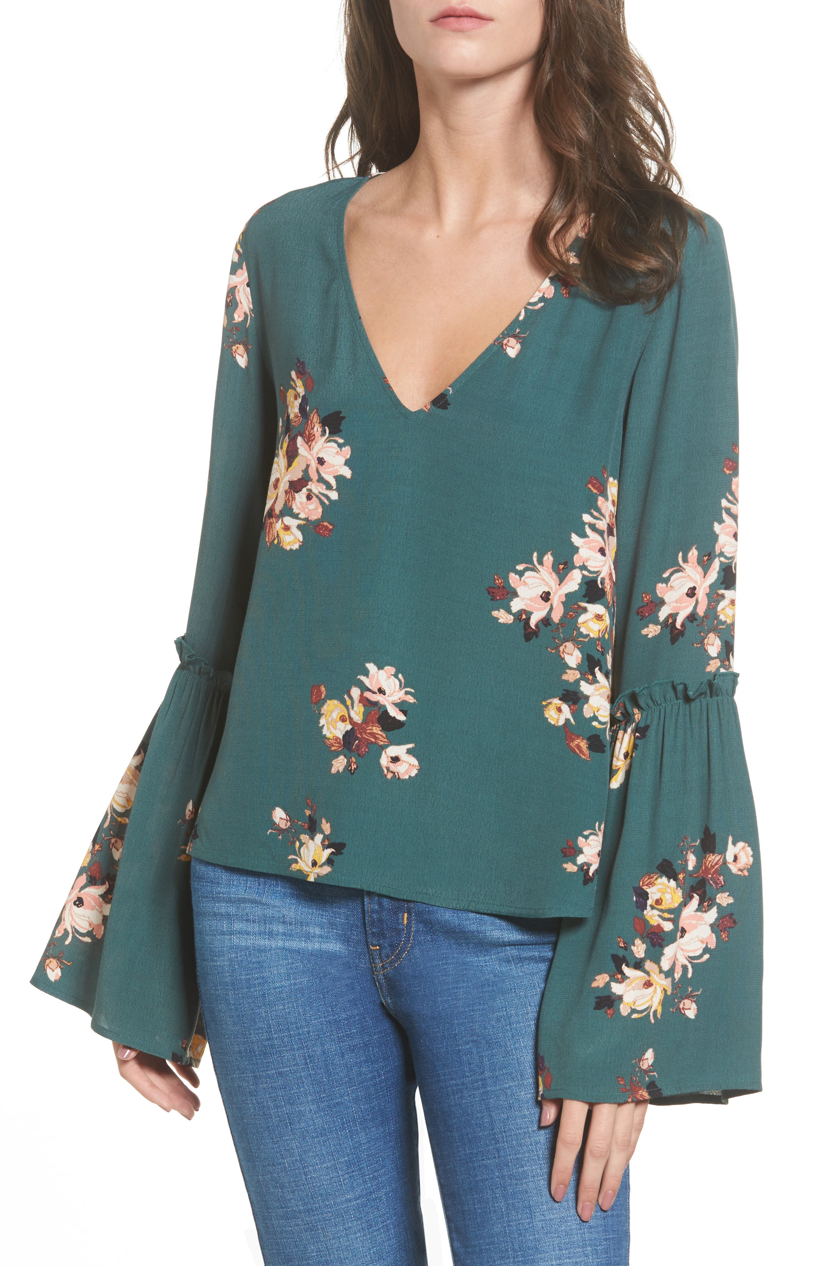 Bell Sleeve Blouse,                             Main thumbnail 1, color,                             Green Jungle Floral Bouquet