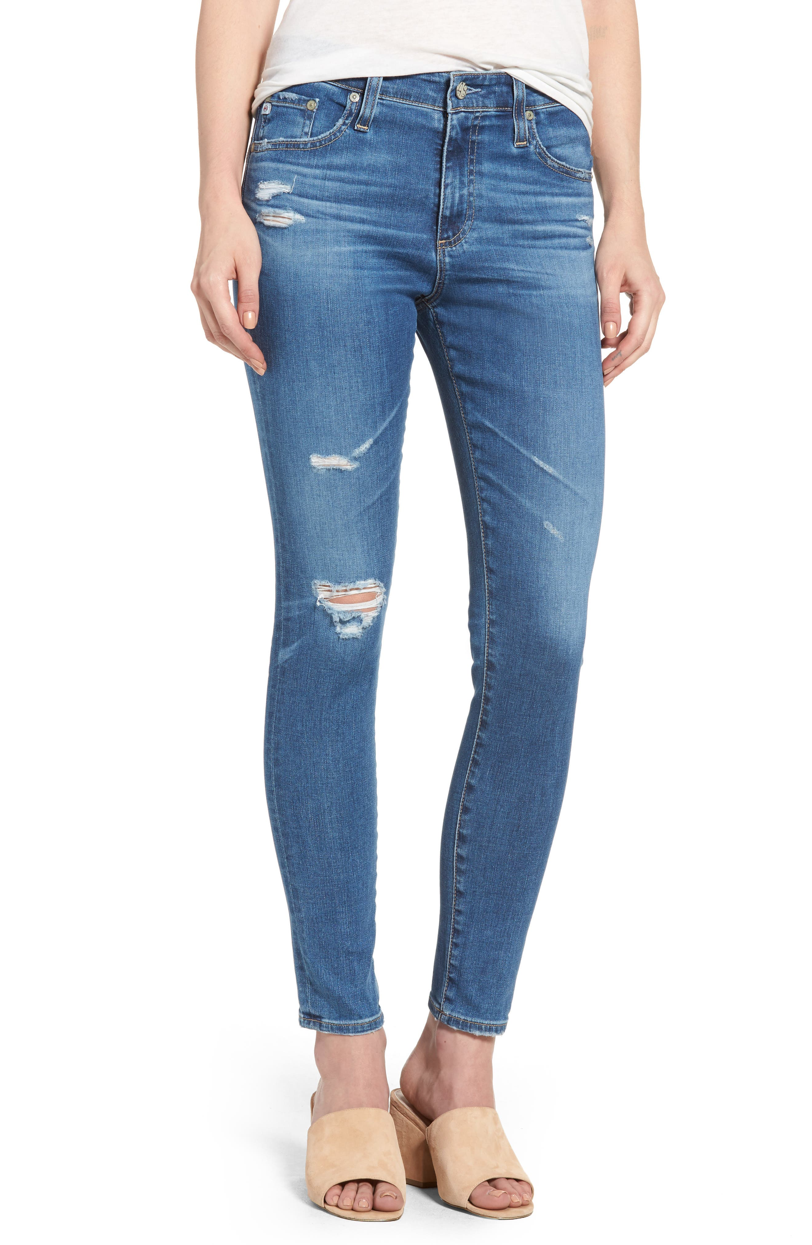 Main Image - AG The Farrah High Waist Ankle Skinny Jeans (14 Year Blue Nile Destructed)