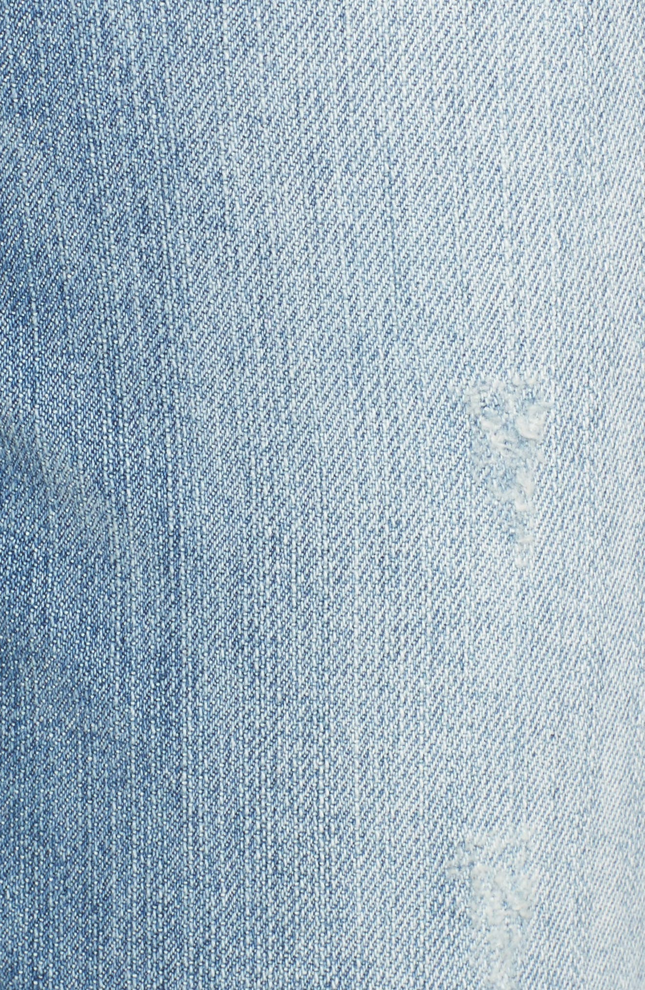 Ripped Girlfriend Jeans,                             Alternate thumbnail 5, color,                             Light Blue
