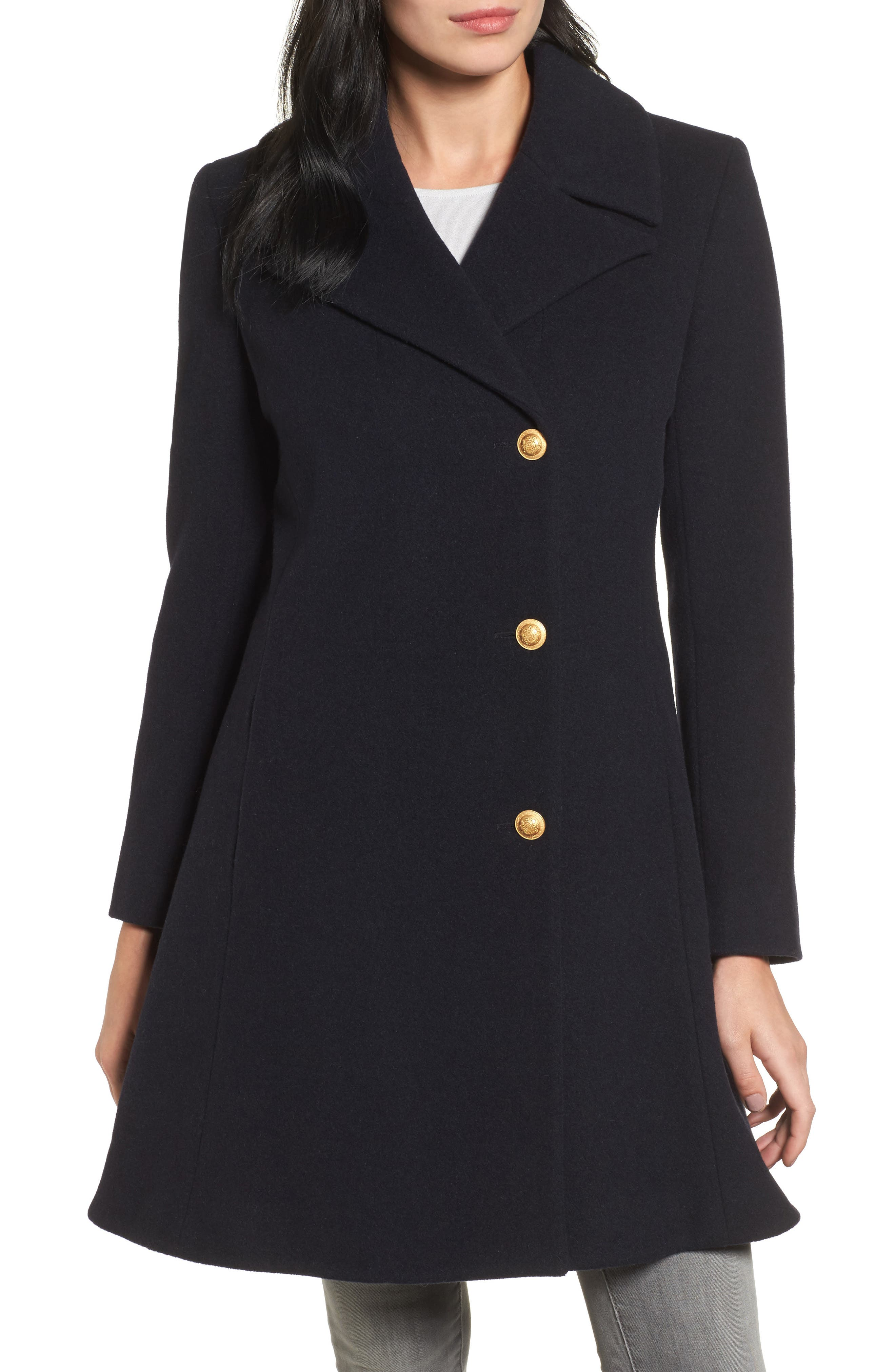 Skirted Wool Blend Coat,                         Main,                         color, Navy