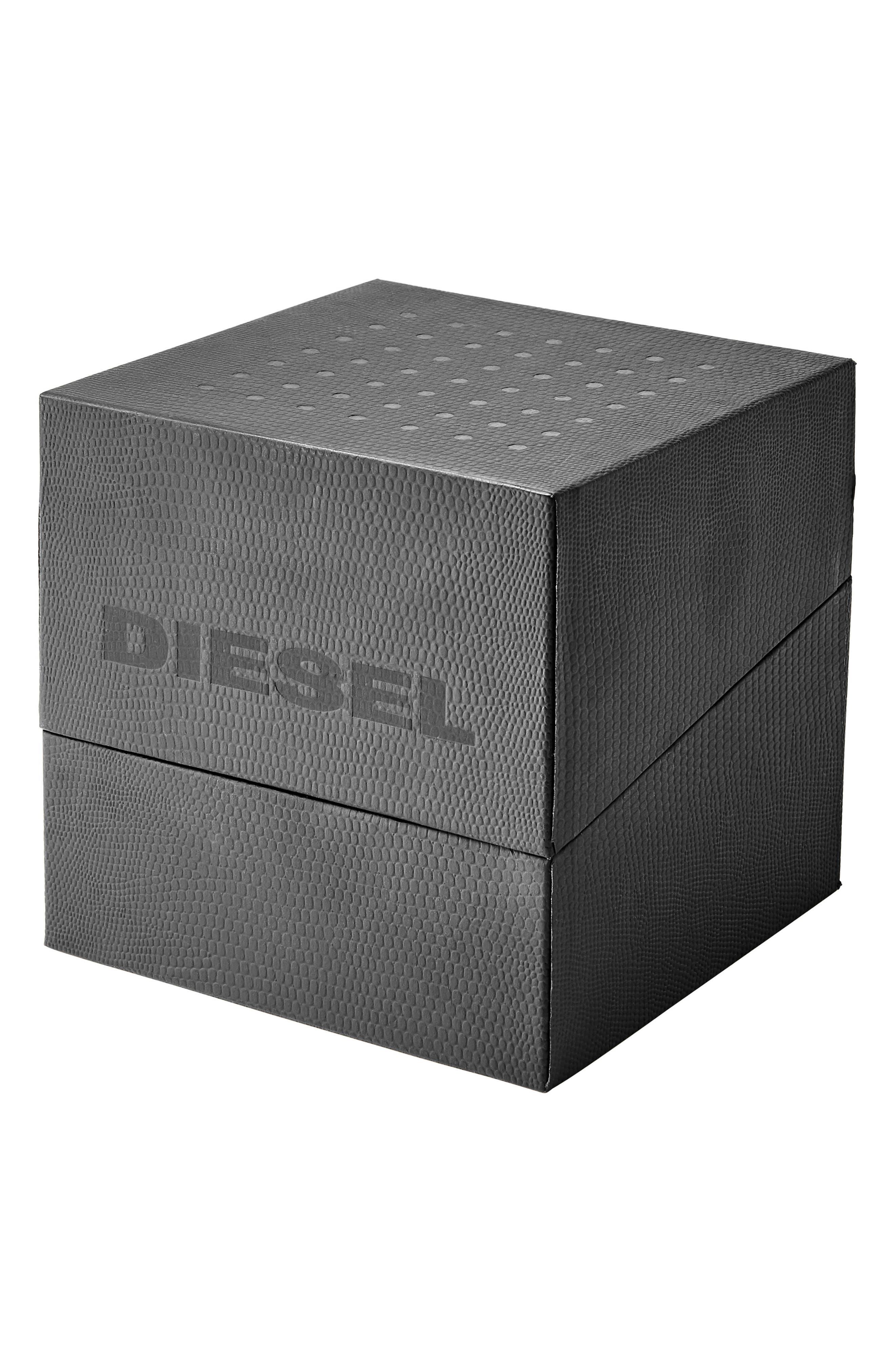 Alternate Image 4  - DIESEL® Rasp Leather Strap Watch & Bracelet Set, 46mm x 53mm