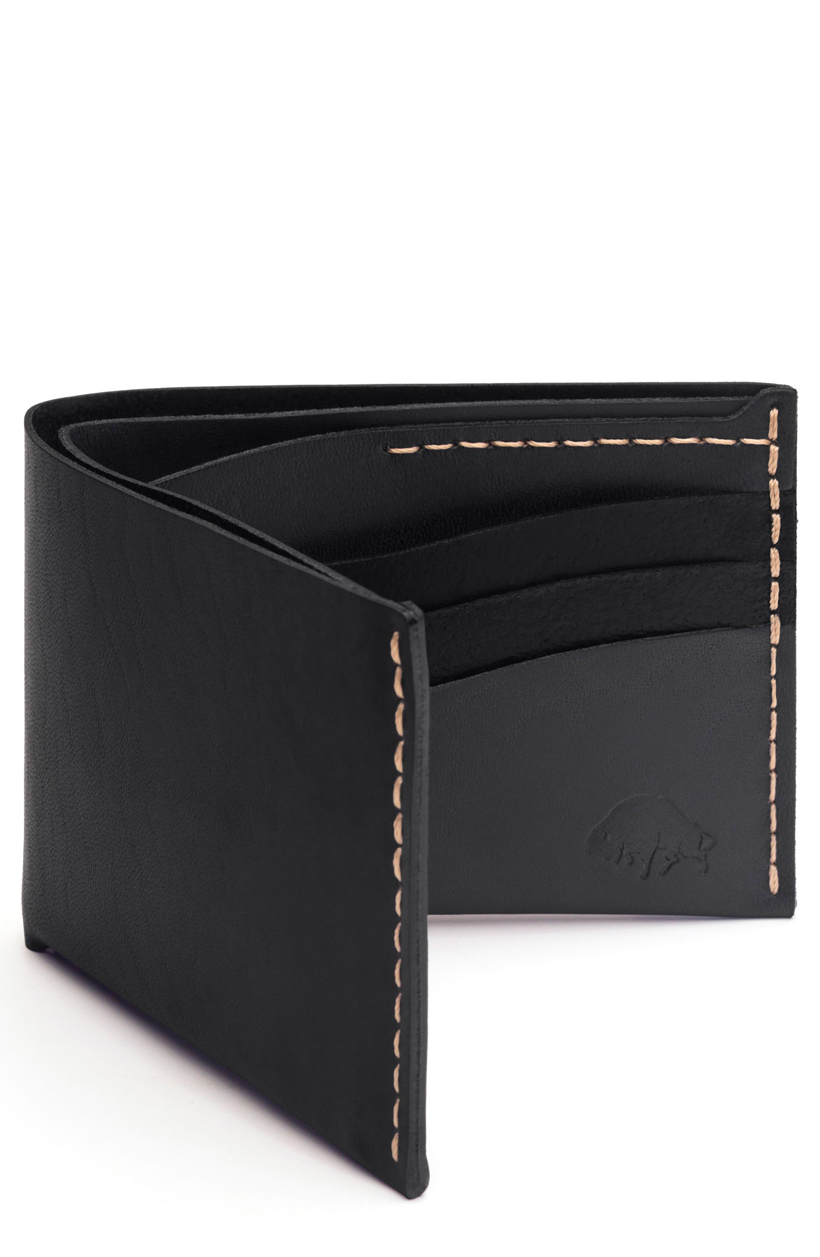 No. 8 Leather Wallet,                         Main,                         color, Jet Top Stitch