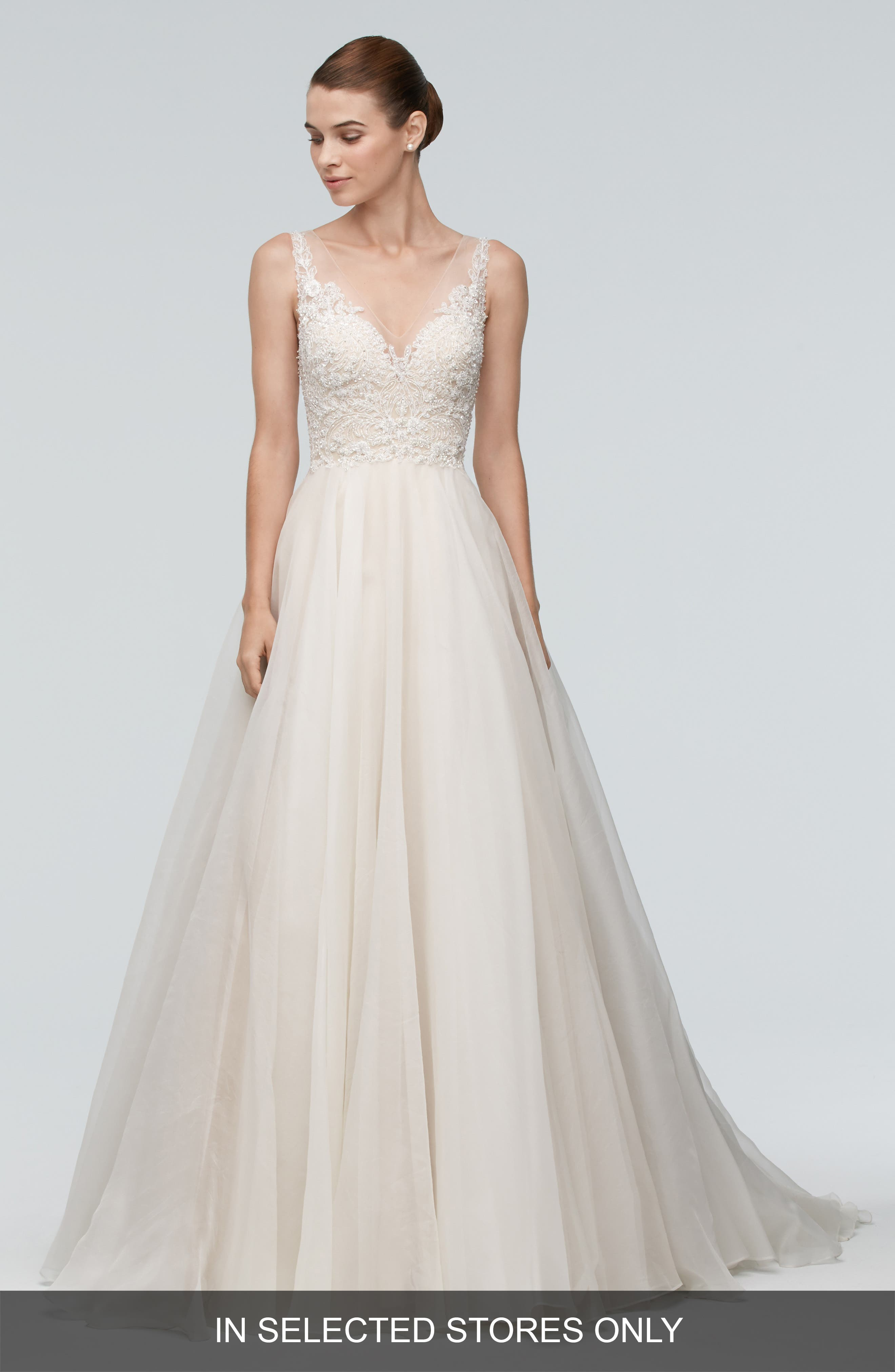 Janet Embellished Tulle & Organza A-Line Gown,                         Main,                         color, Ivory/Nude