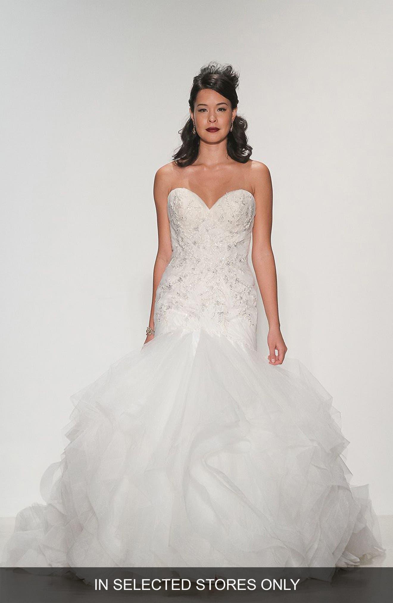 Matthew Christopher Adrianna Embellished Strapless Tulle & Organza Gown