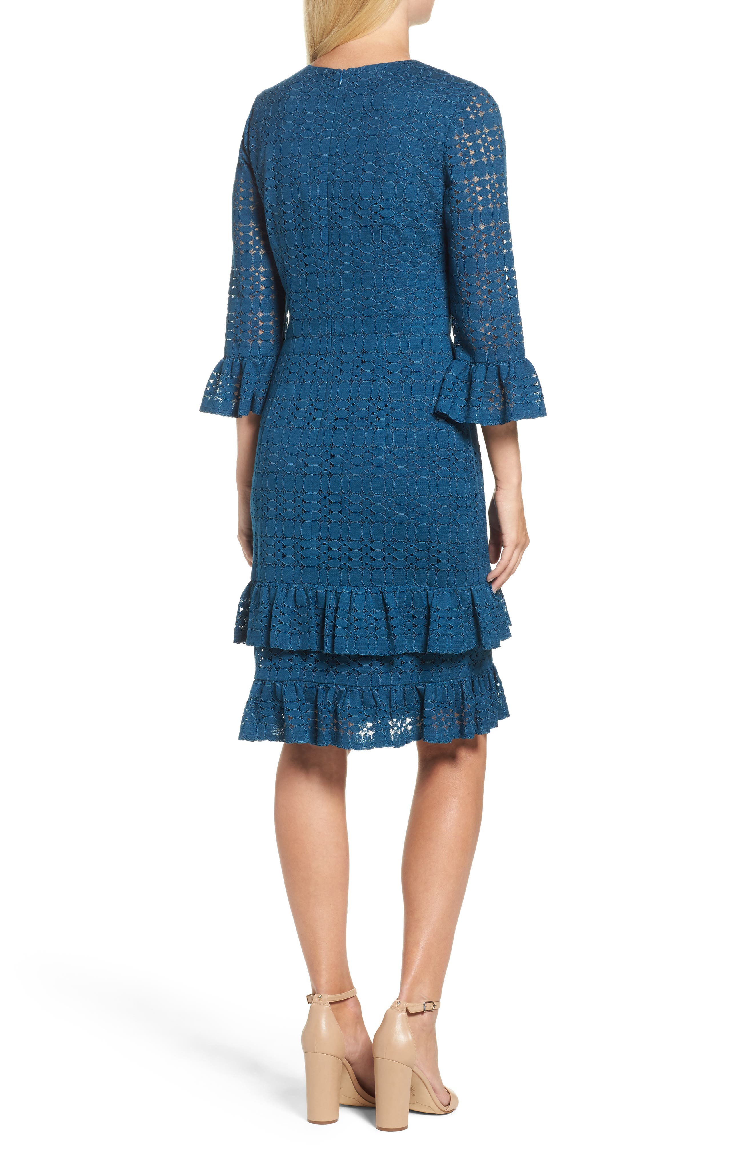 Alternate Image 2  - Maggy London Ruffle Lace Sheath Dress (Regular & Petite)