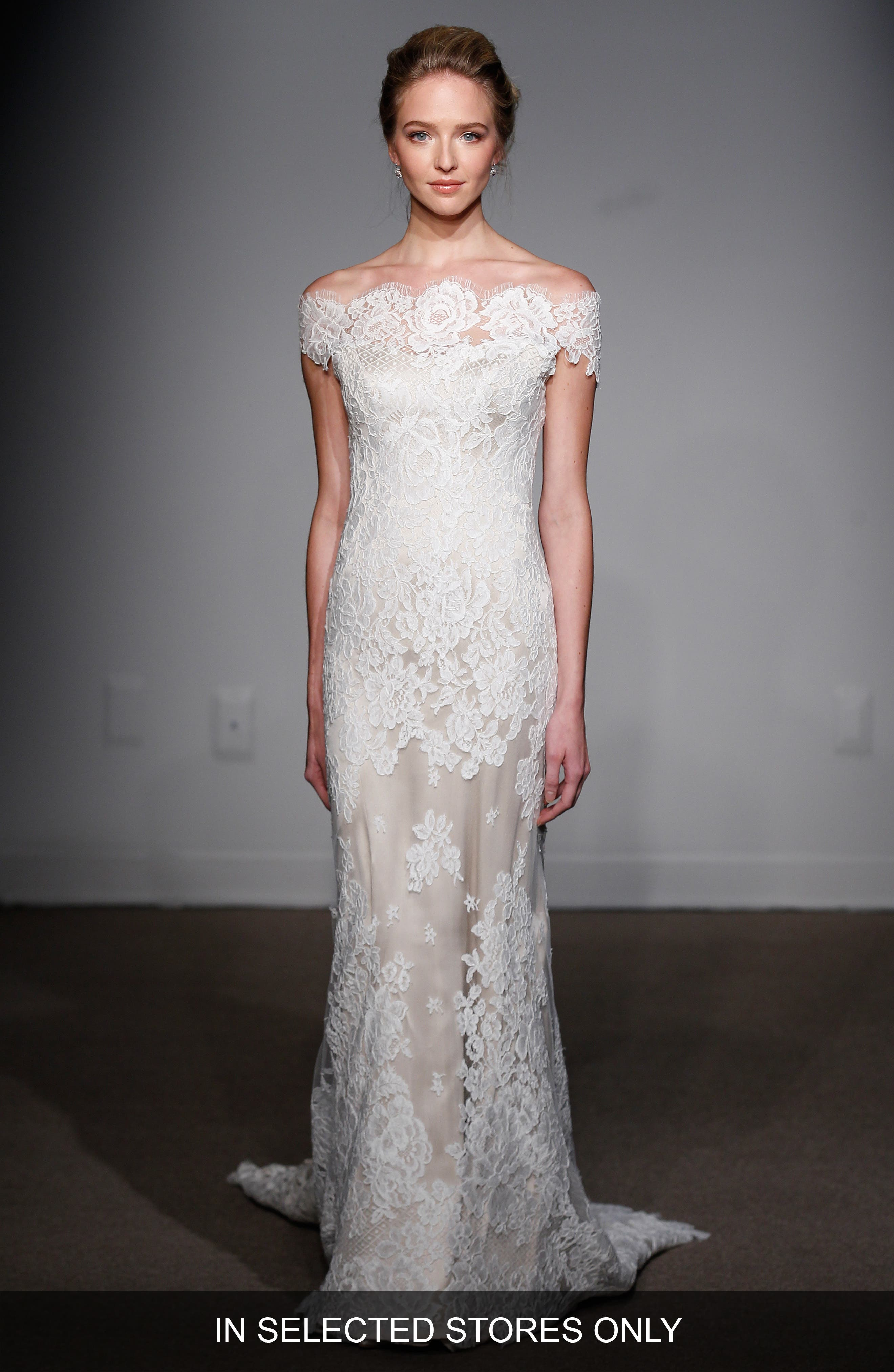 Anna Maier Couture 'Gabrielle' Off-the-Shoulder Corded Lace Gown (In Stores Only)
