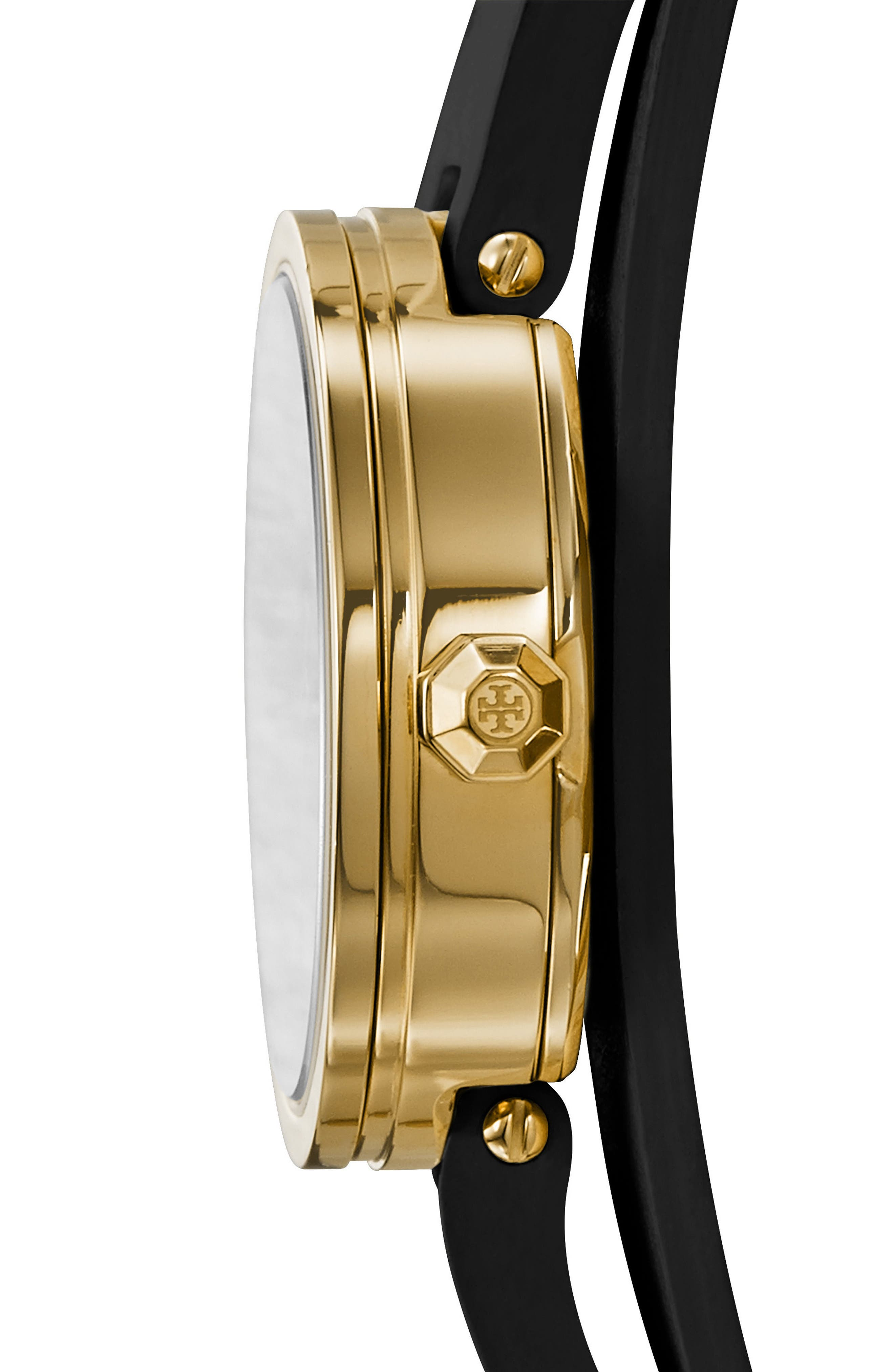 Reva Logo Dial Double Wrap Leather Strap Watch, 28mm,                             Alternate thumbnail 2, color,                             Black/ Gold