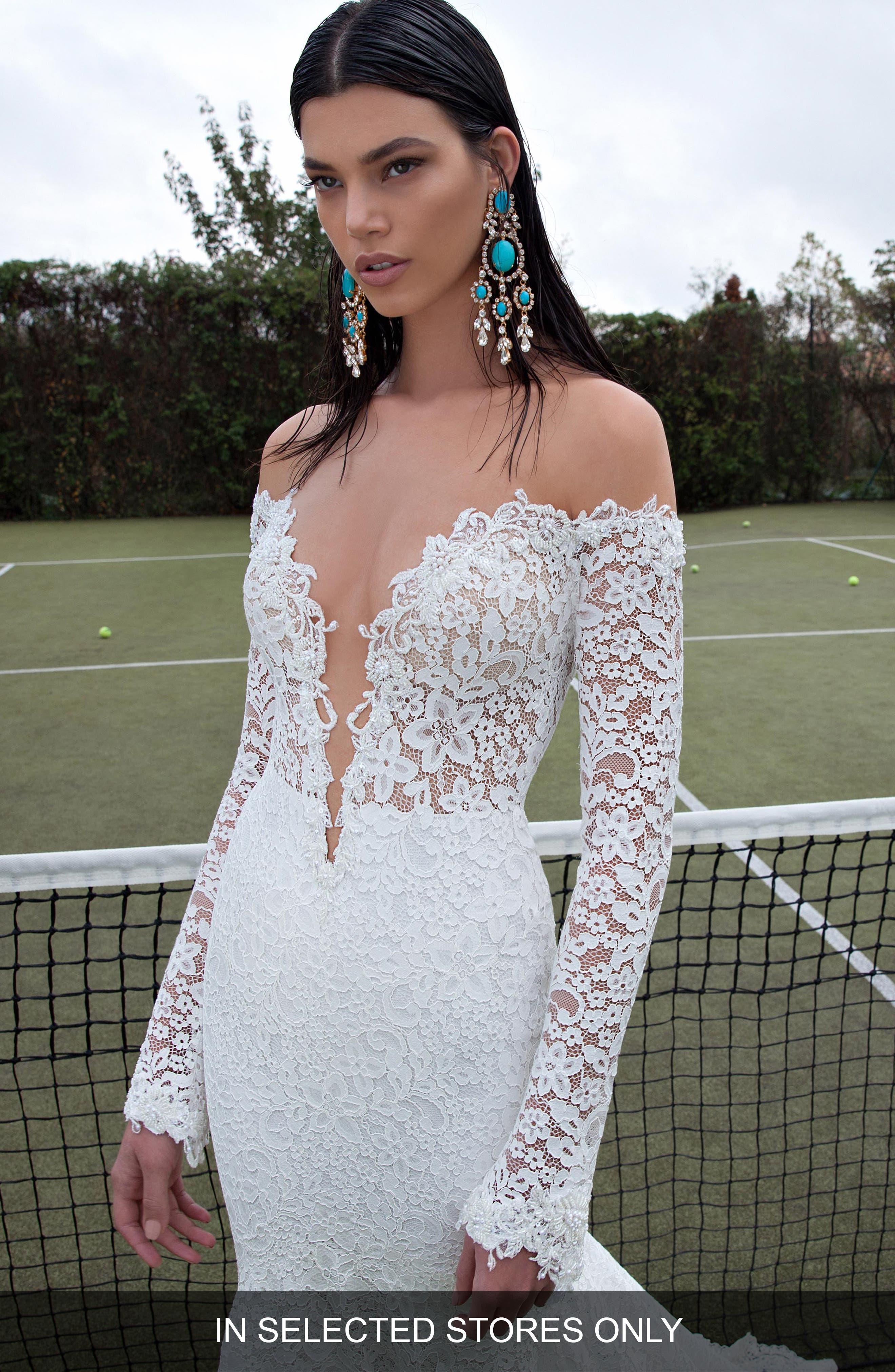 Plunging V-Neck Long Sleeve Lace Dress,                         Main,                         color, Ivory