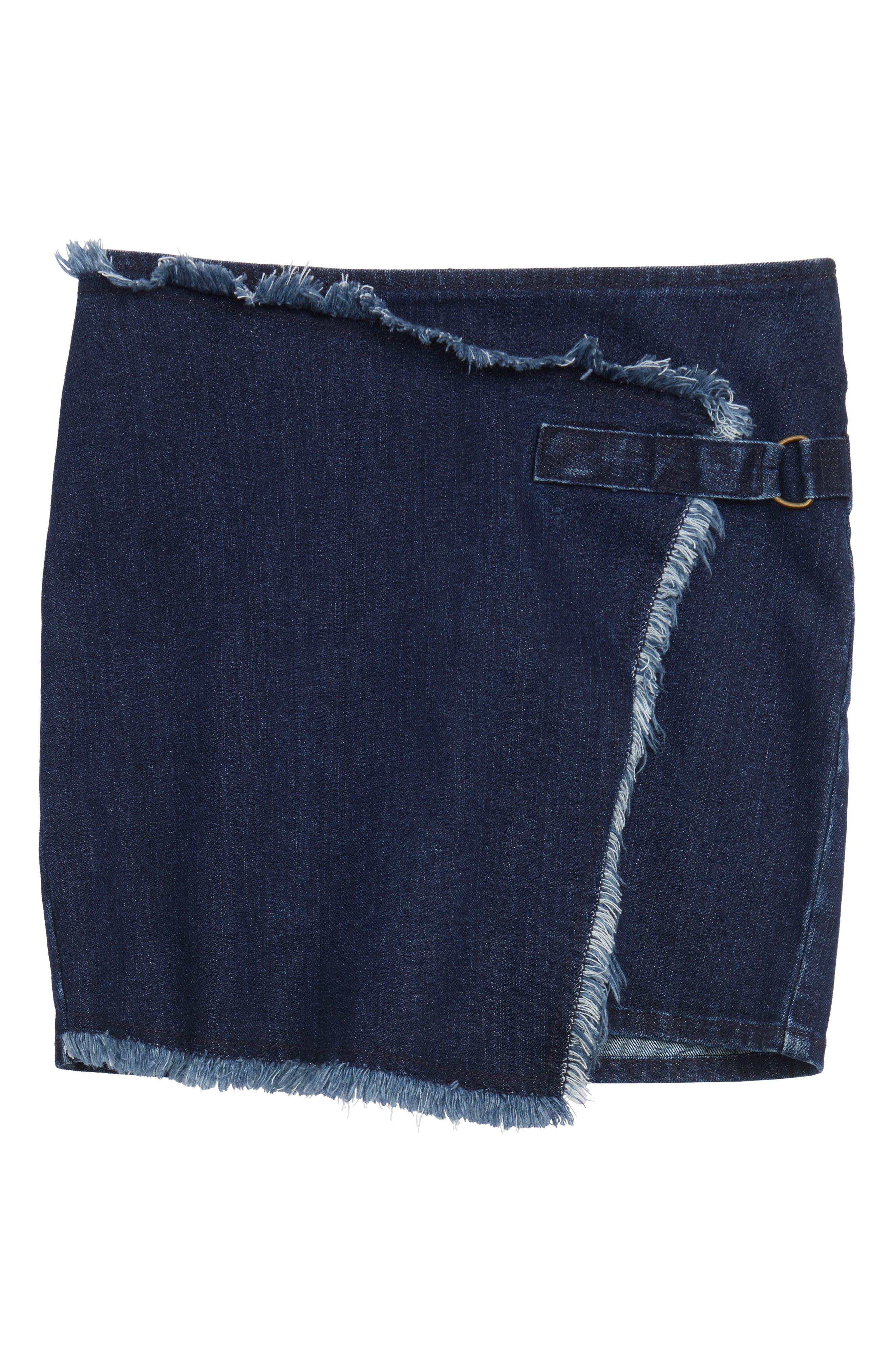 Asymmetrical Wrap Denim Skirt,                         Main,                         color, Sea Blue Wash