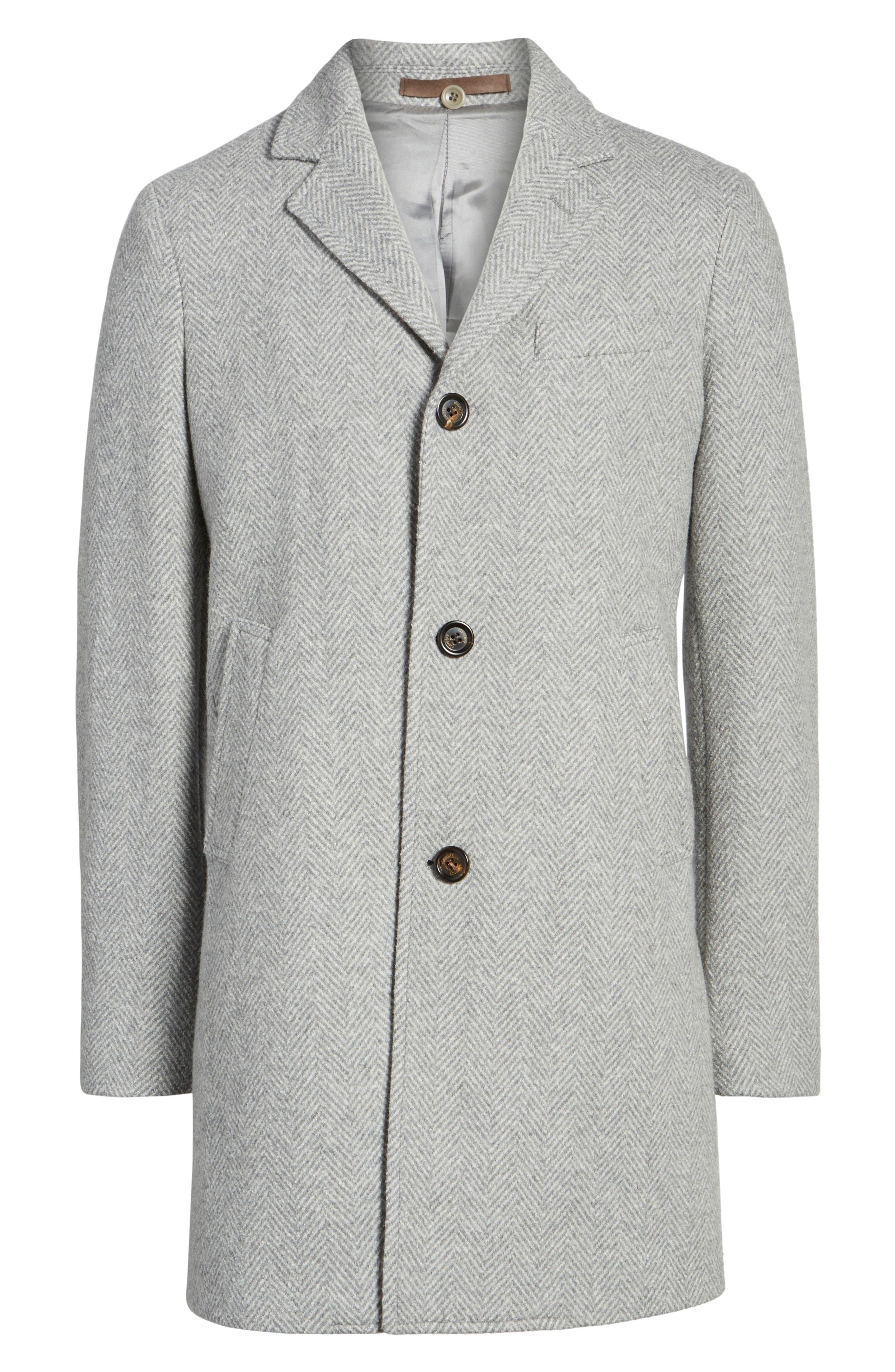 Alternate Image 5  - Eleventy Herringbone Wool Blend Overcoat