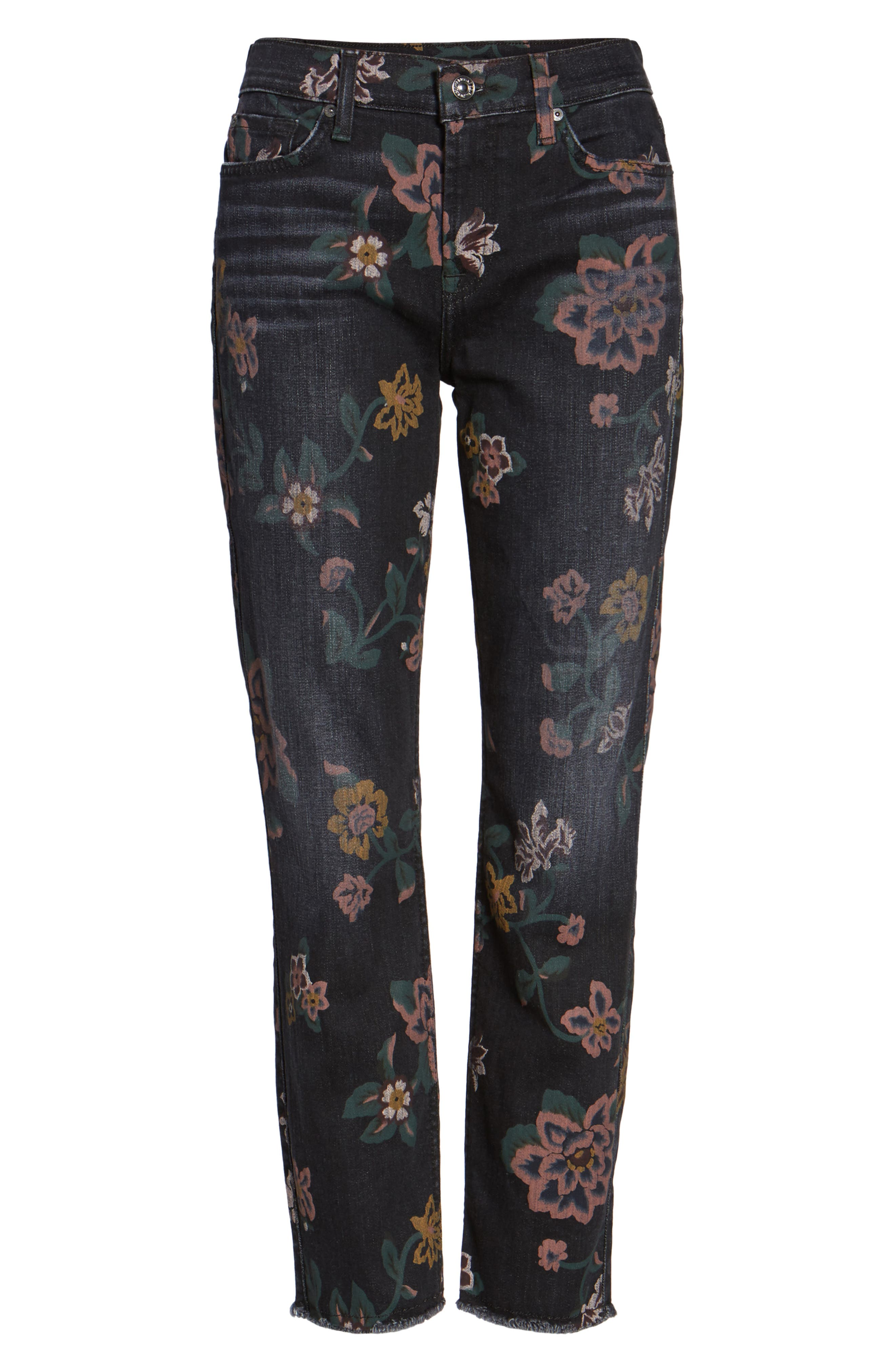 Roxanne Floral Print Ankle Slim Jeans,                             Alternate thumbnail 6, color,                             Print On Noir