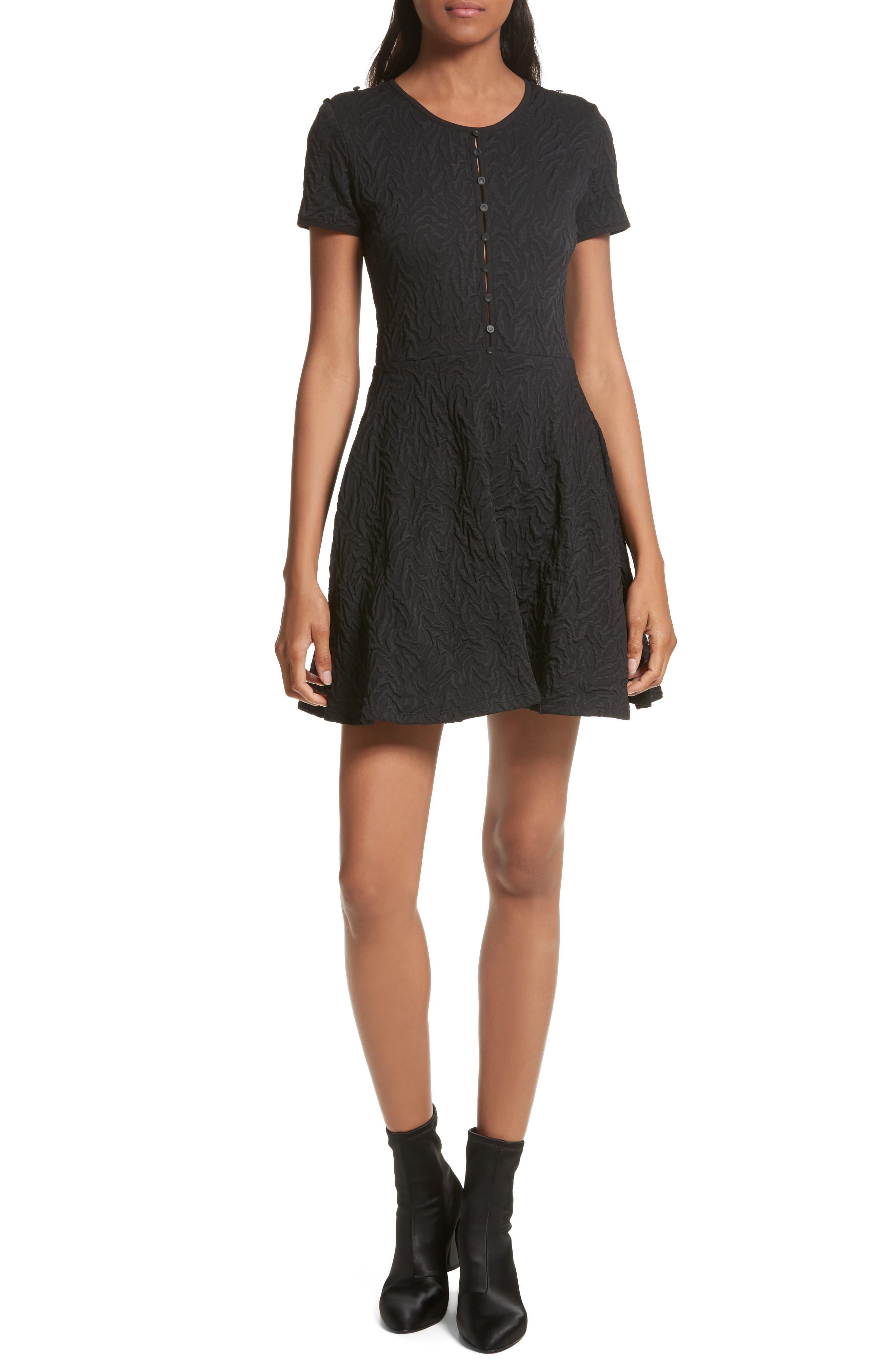 Desert Jacquard Flare Dress,                             Main thumbnail 1, color,                             Black