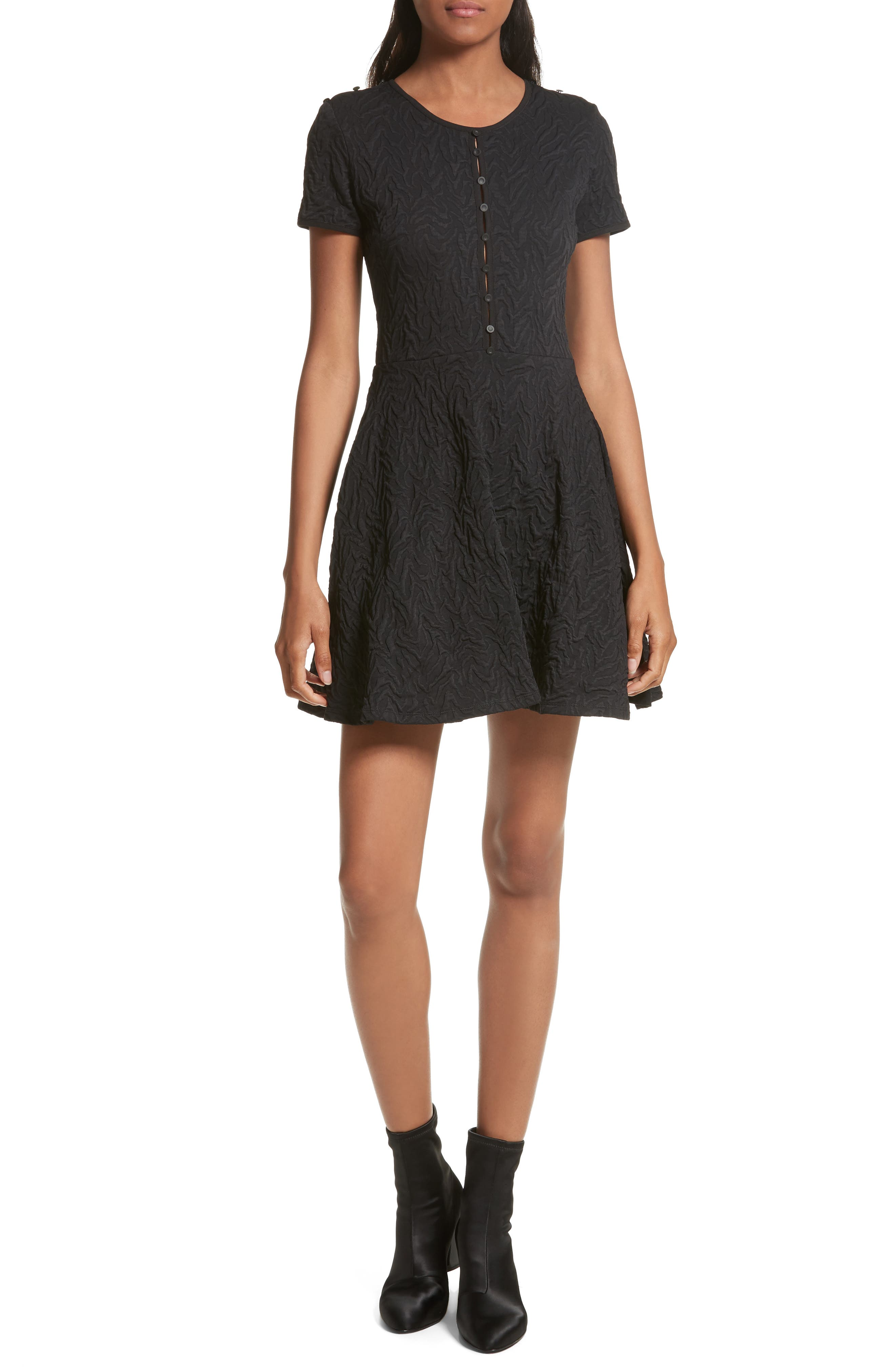 Desert Jacquard Flare Dress,                         Main,                         color, Black