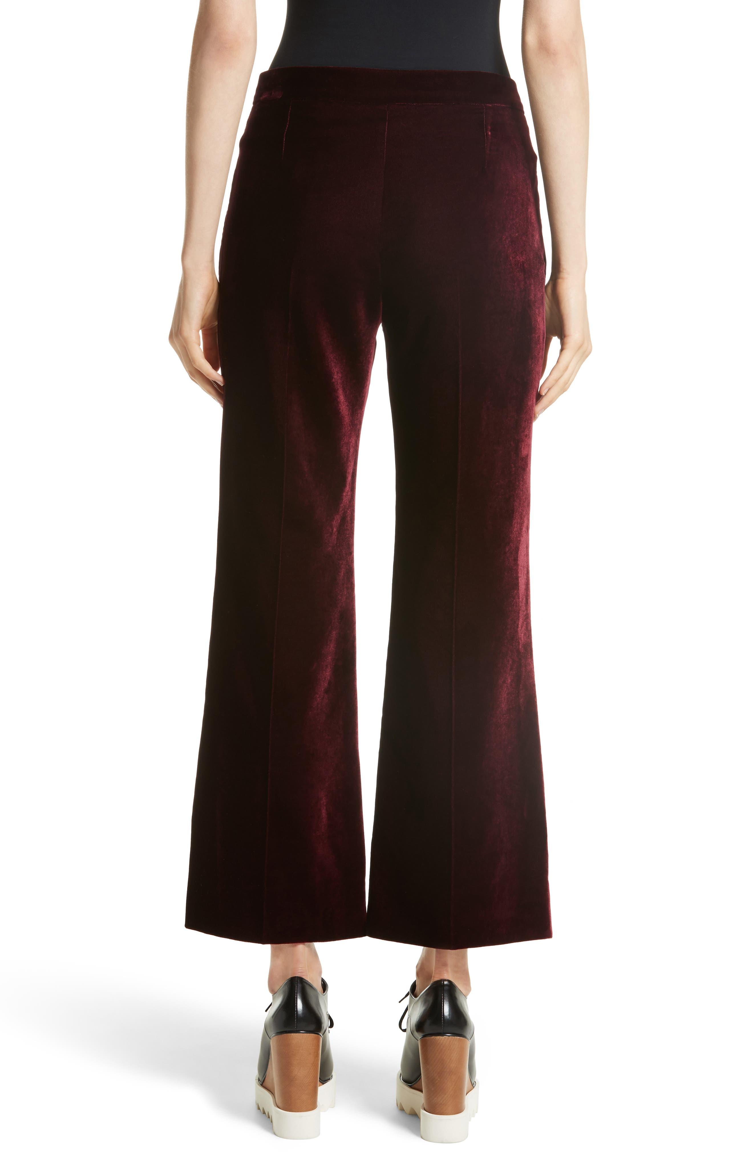Bonded Velvet Crop Pants,                             Alternate thumbnail 2, color,                             Burgundy