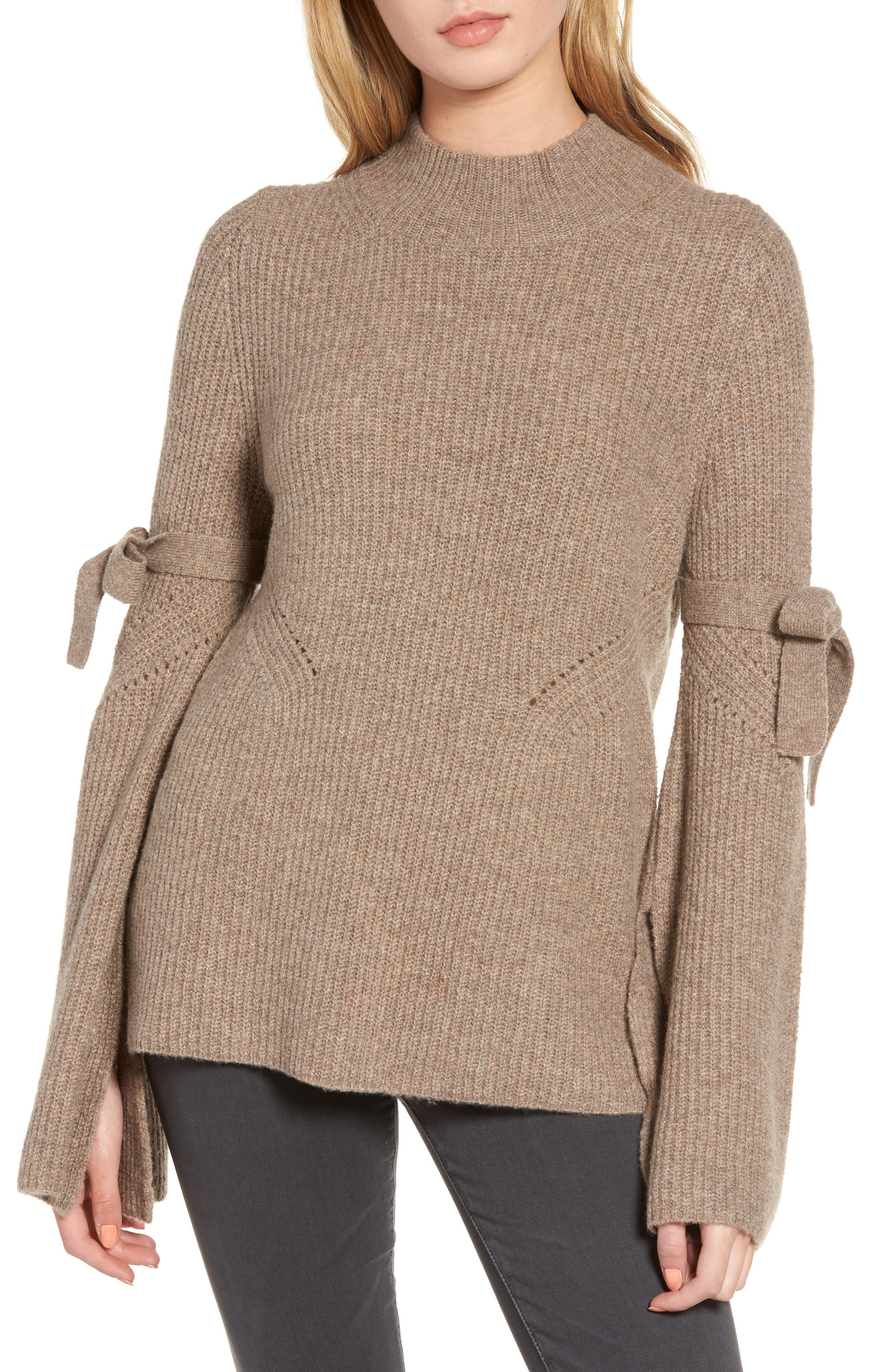 Tie Bell Sleeve Sweater,                         Main,                         color, Tan Portobello Heather