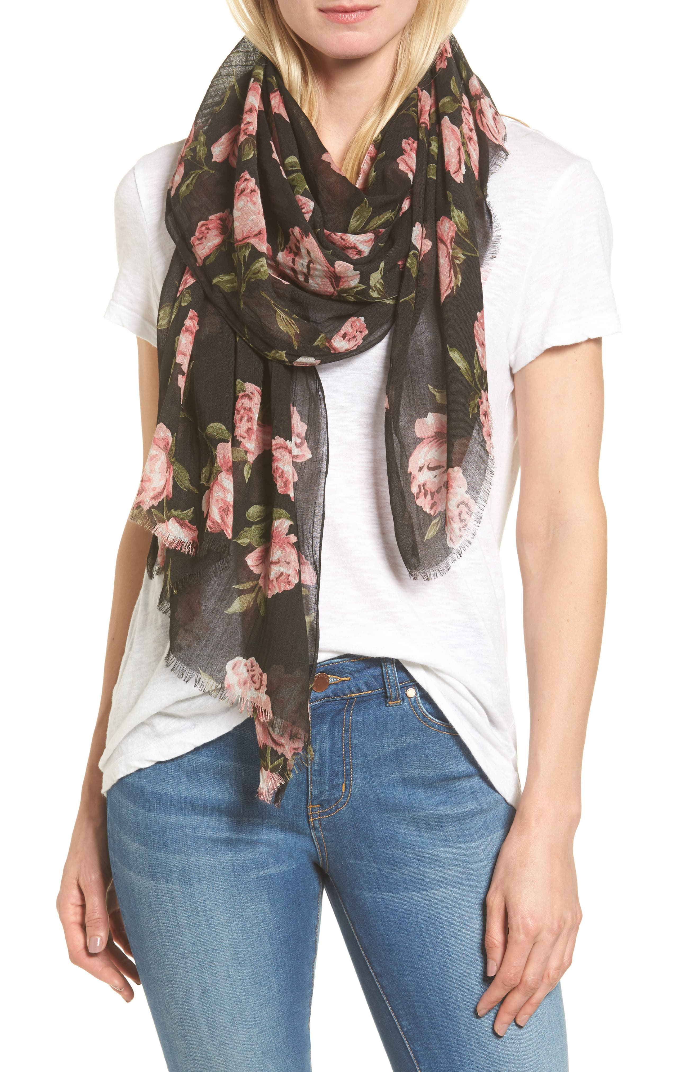 Sole Society Floral Print Scarf