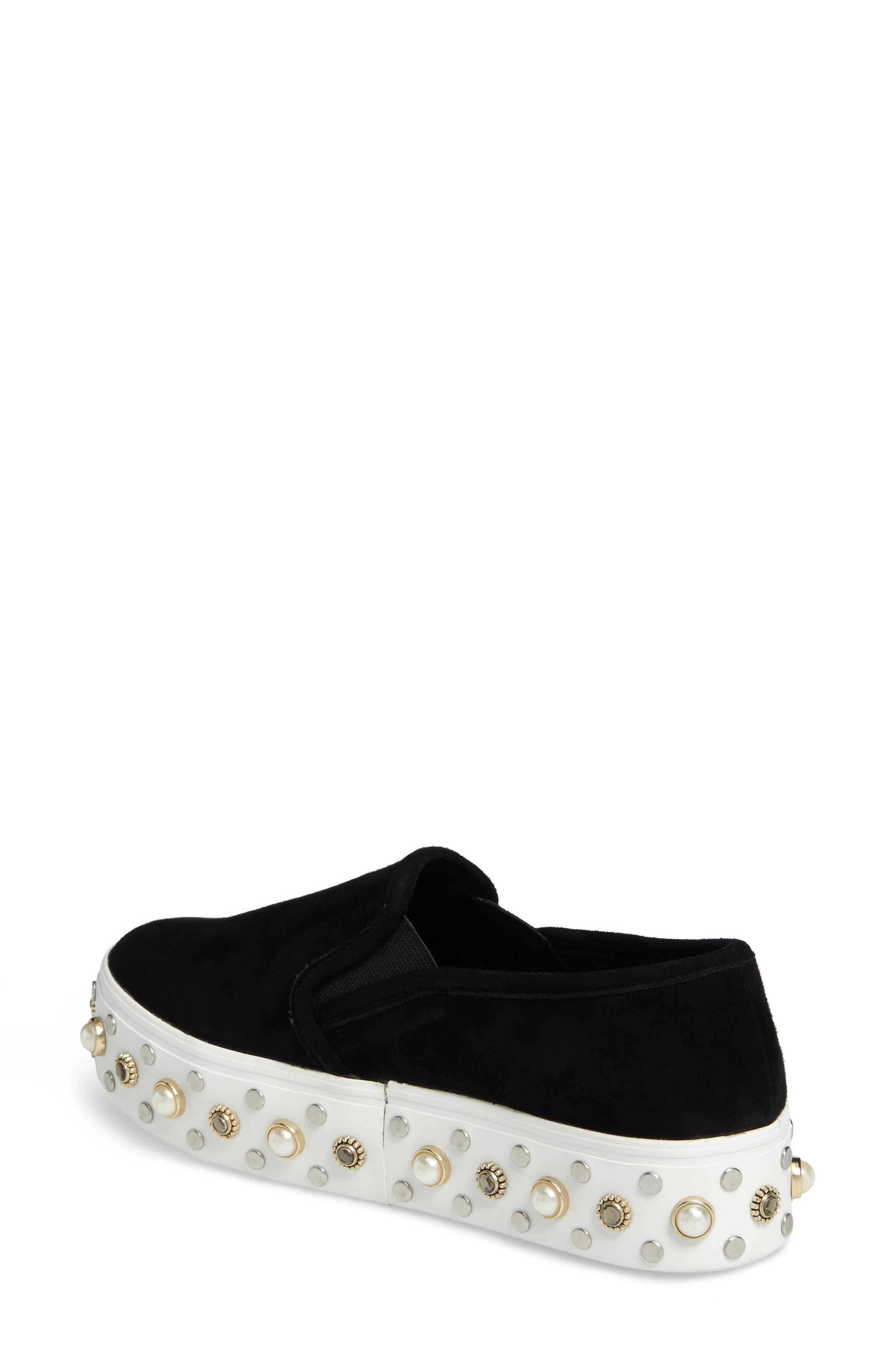 Glitzy Slip-On Sneaker,                             Alternate thumbnail 2, color,                             Black Suede