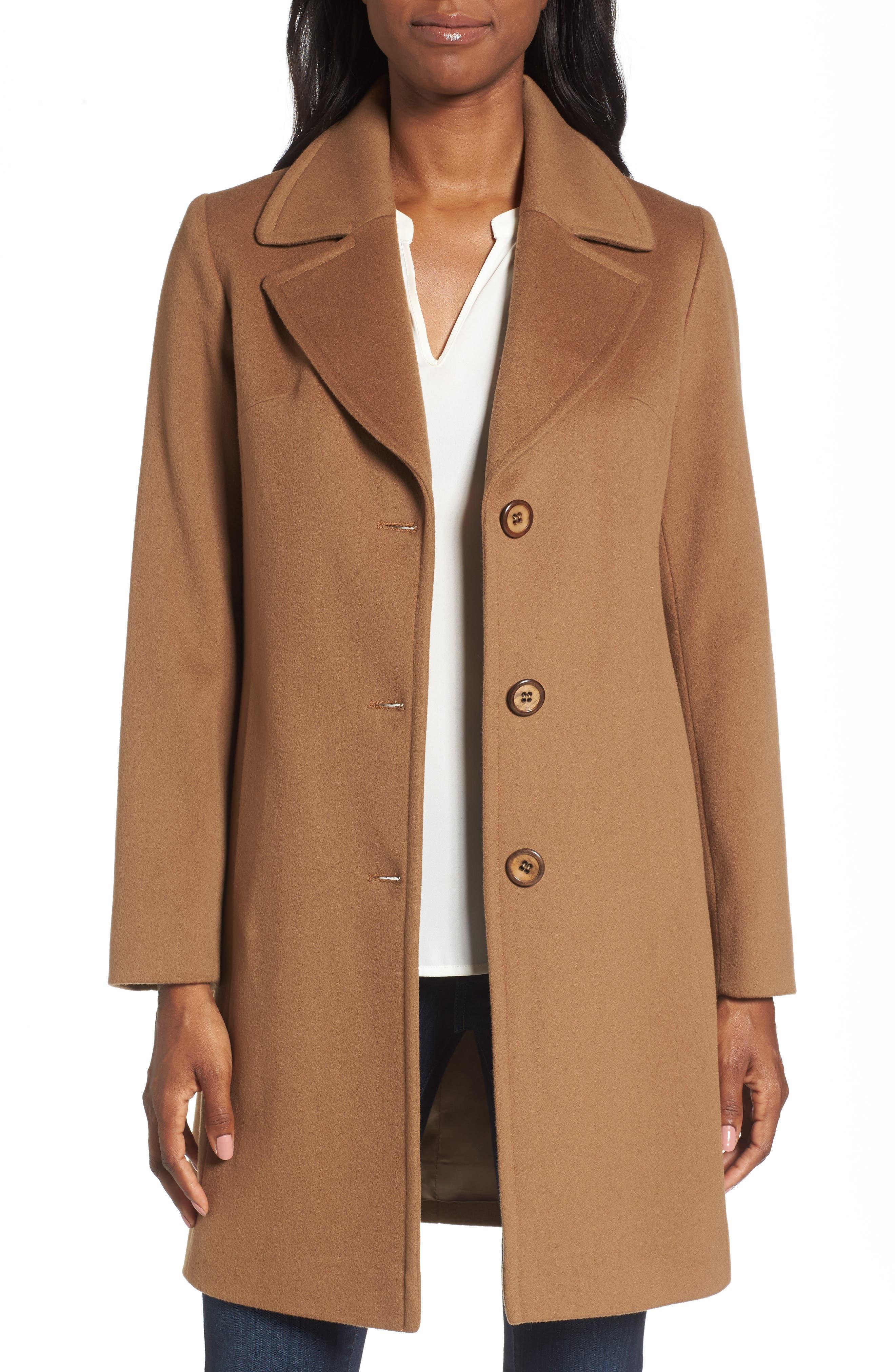Fleurette Notch Collar Wool Walking Coat (Regular & Petite)