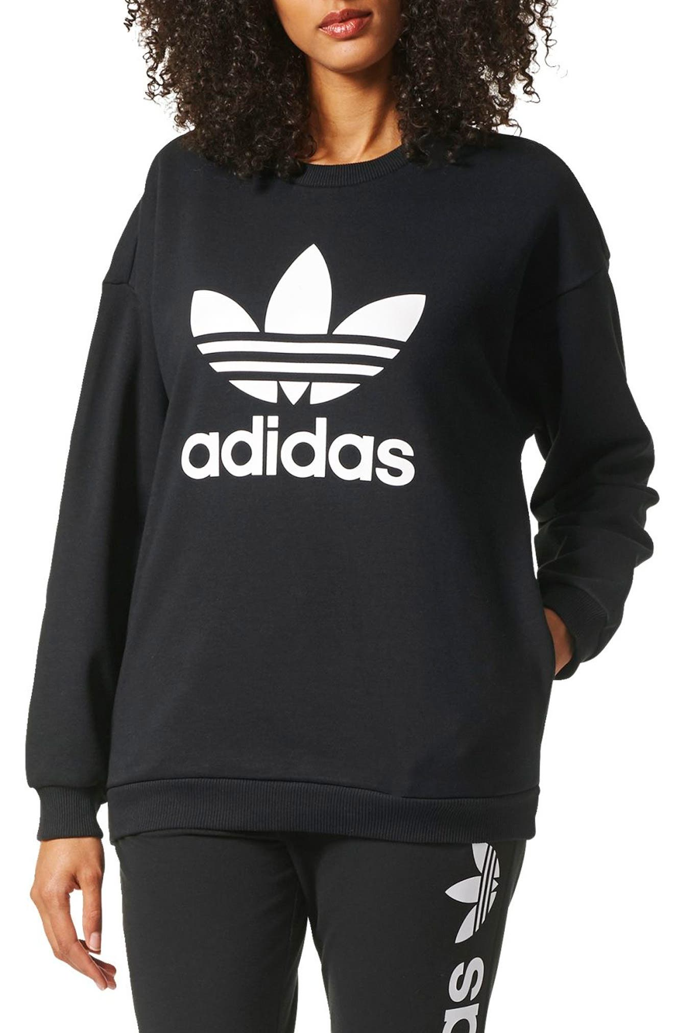 adidas hoodie womens. adidas originals trefoil crewneck sweatshirt hoodie womens