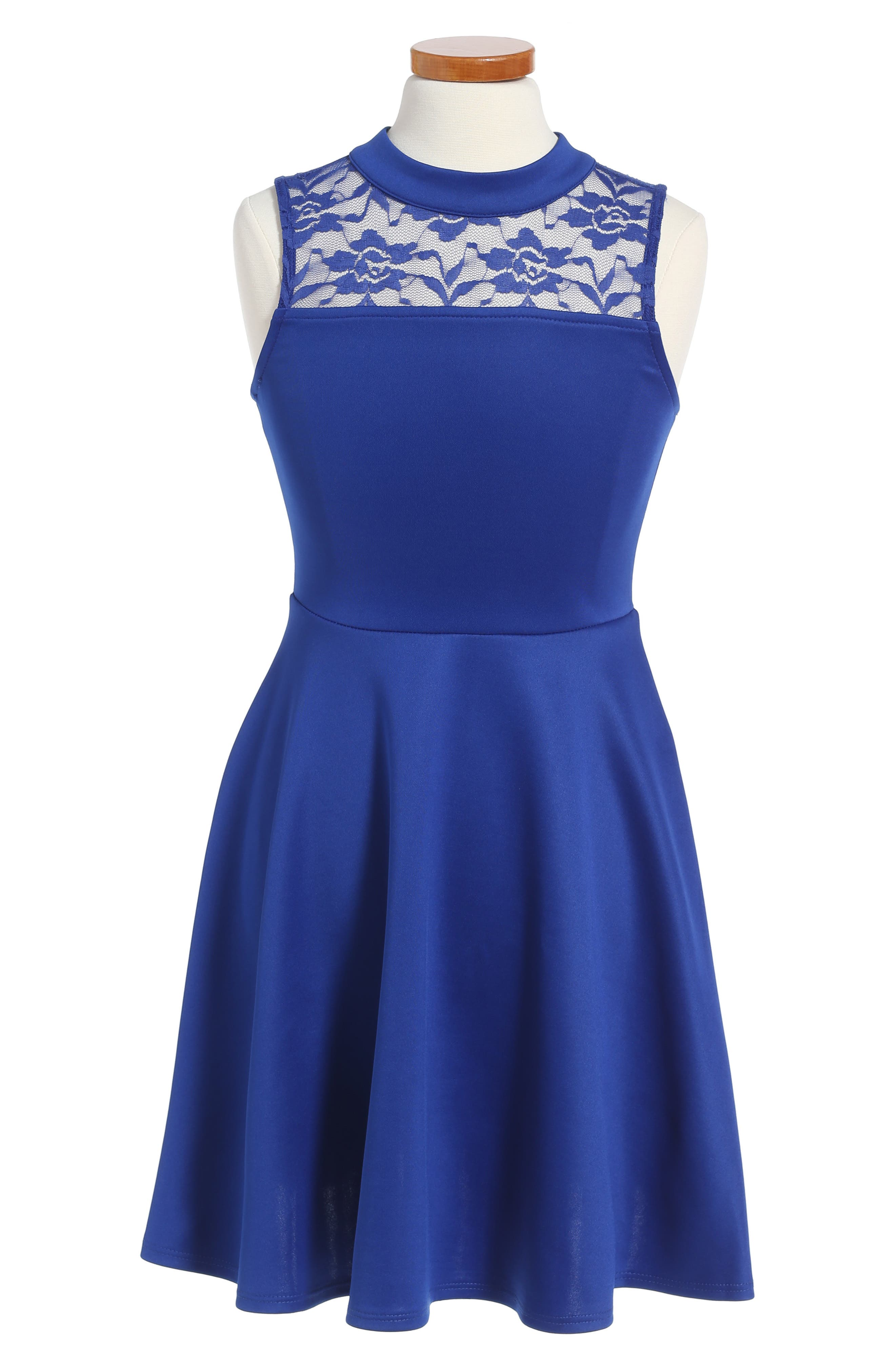 Lace Scuba Dress,                         Main,                         color, Royal