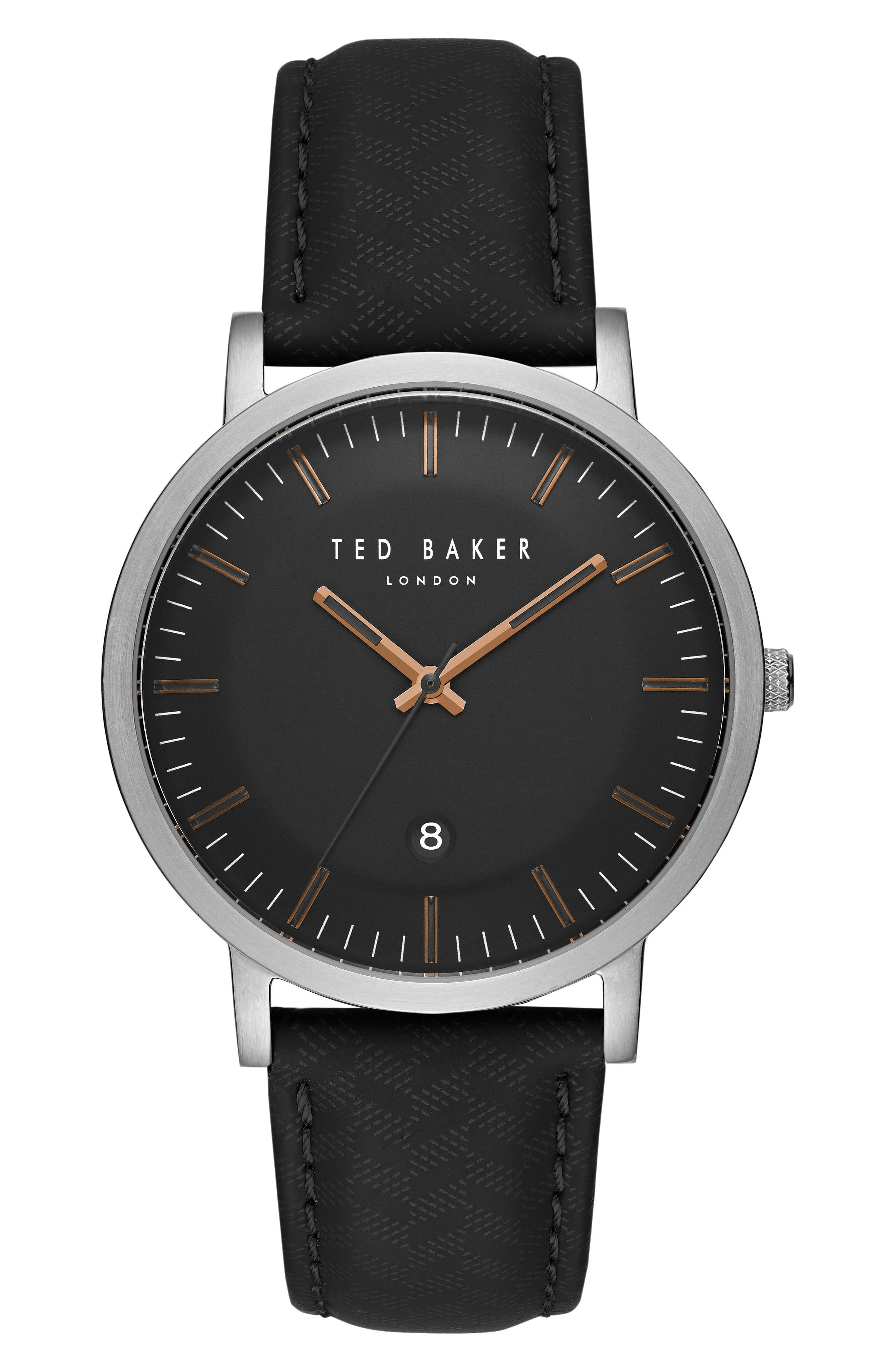 David Leather Strap Watch, 40mm,                         Main,                         color, Black/ Black