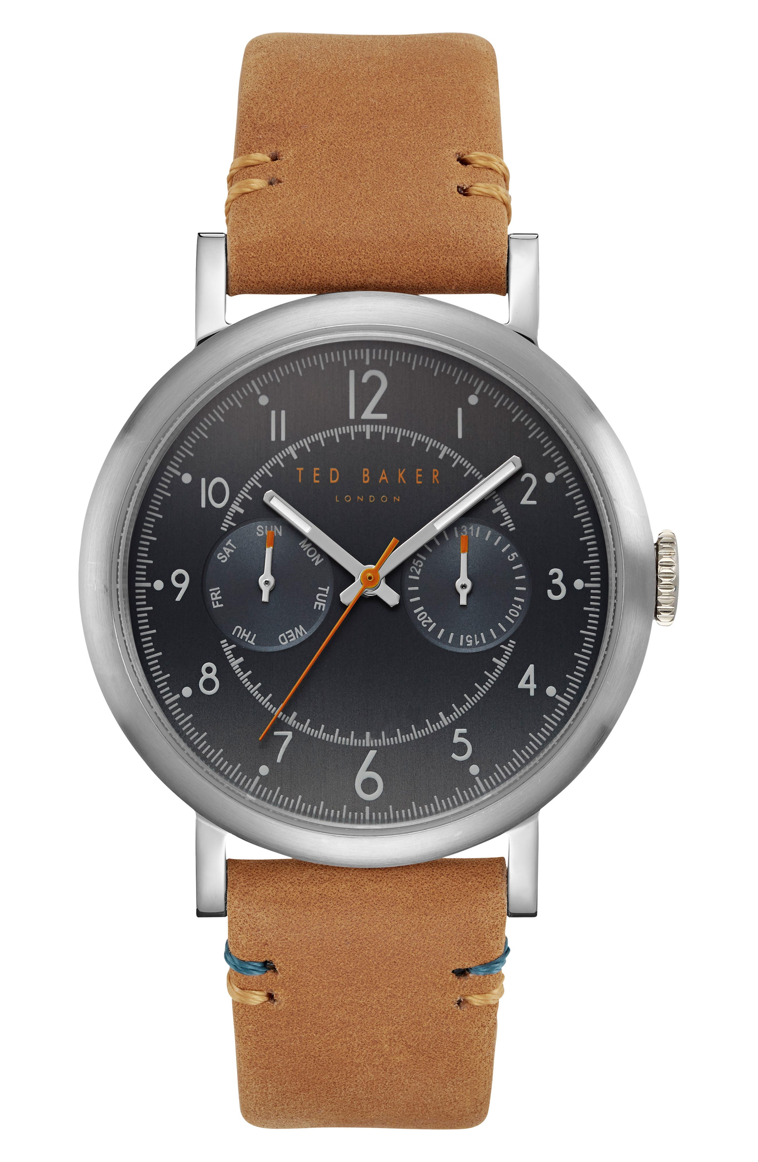 Aiden Multifunction Leather Strap Watch, 41mm,                         Main,                         color, Gunmetal/ Brown
