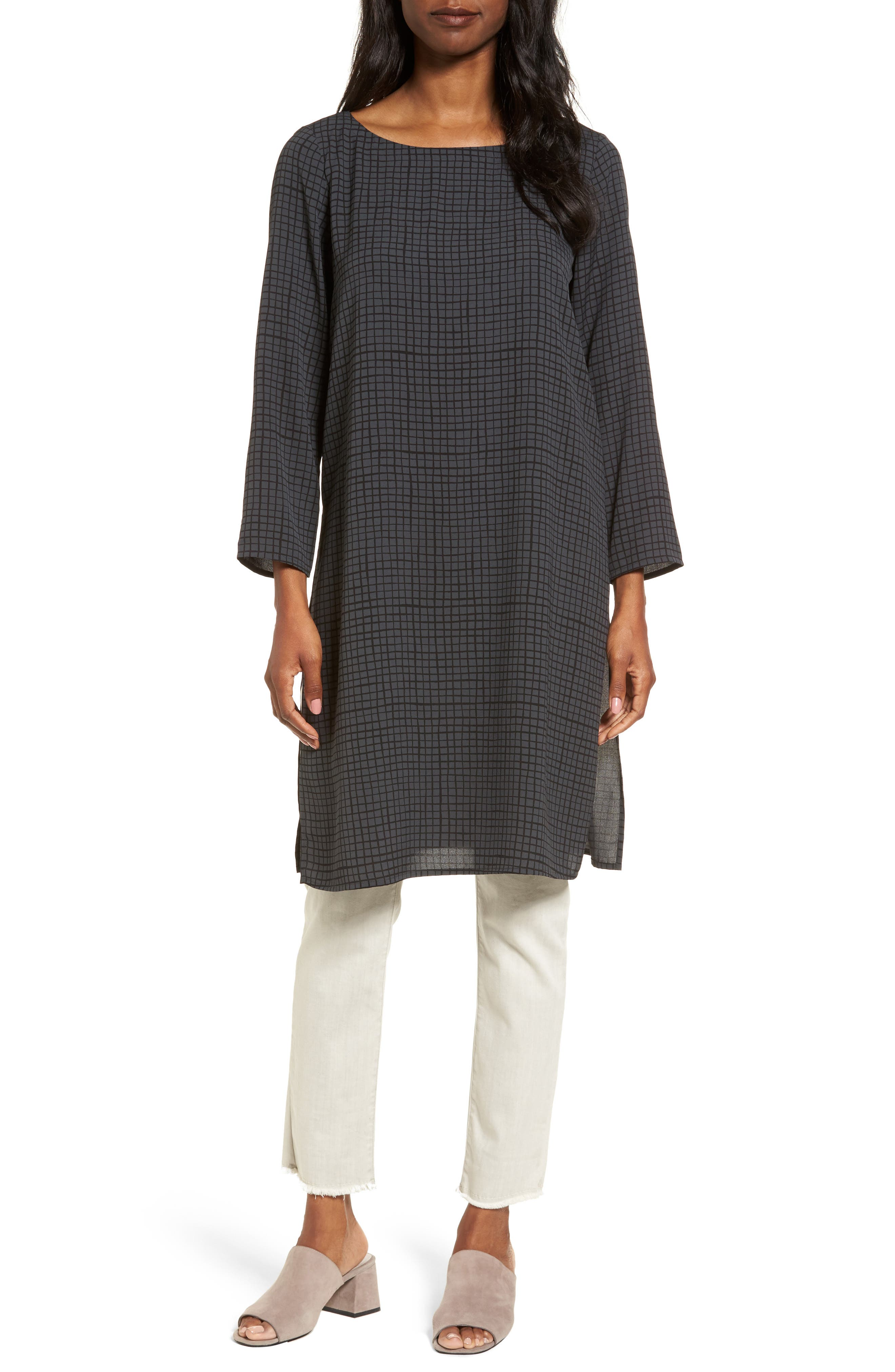 Alternate Image 1 Selected - Eileen Fisher Check Silk Tunic