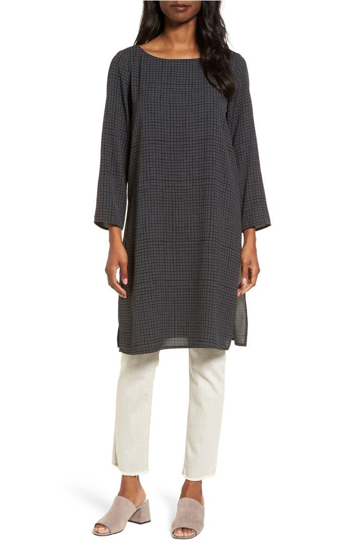 Eileen Fisher Check Silk Tunic Nordstrom