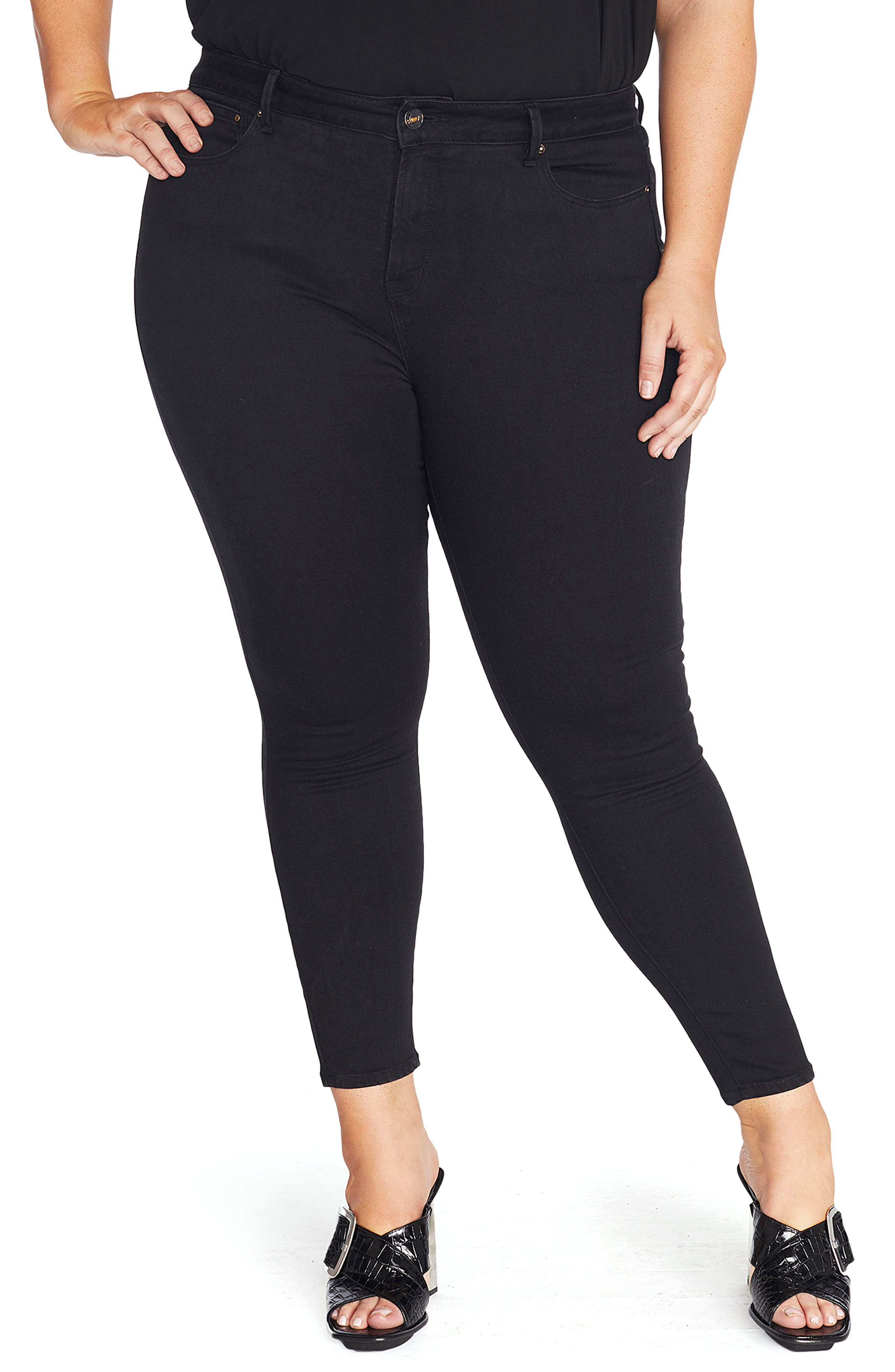 Alternate Image 1 Selected - REBEL WILSON X ANGELS The Pin Up Super Skinny Jeans (Plus Size)