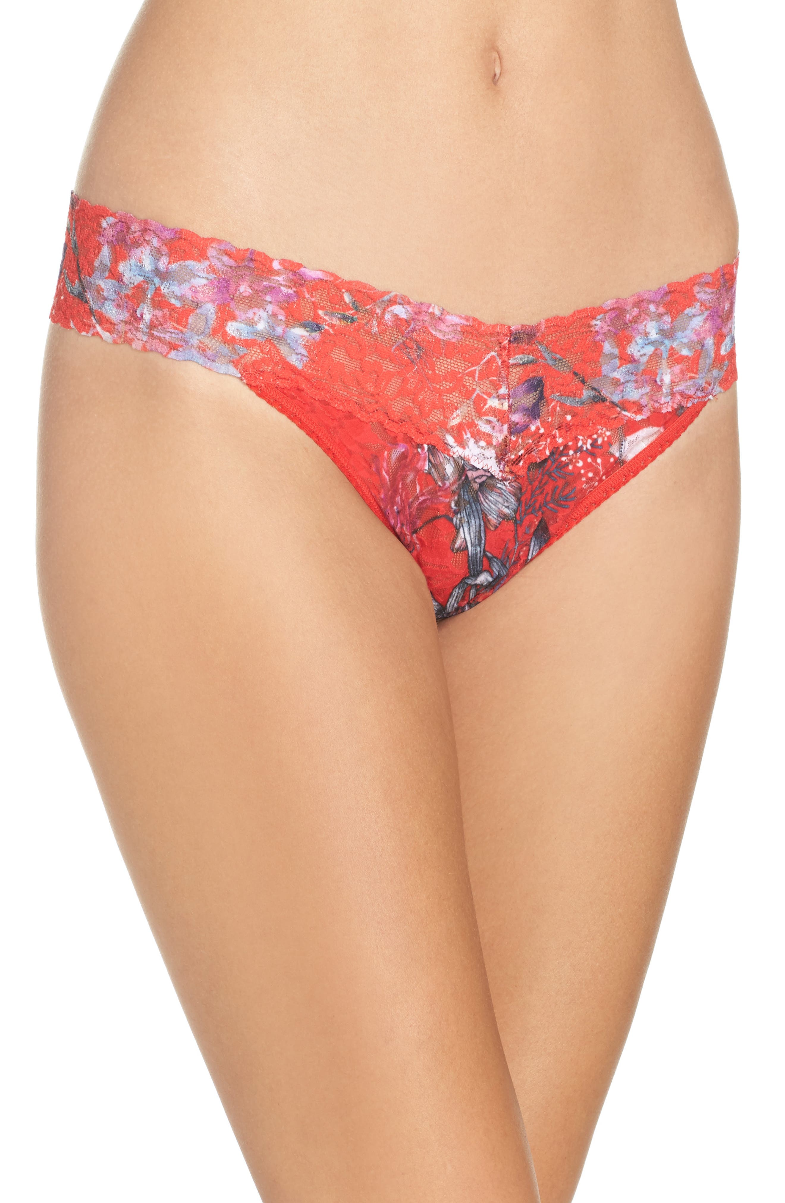 Fiery Floral Original Rise Thong,                         Main,                         color, Red Multi