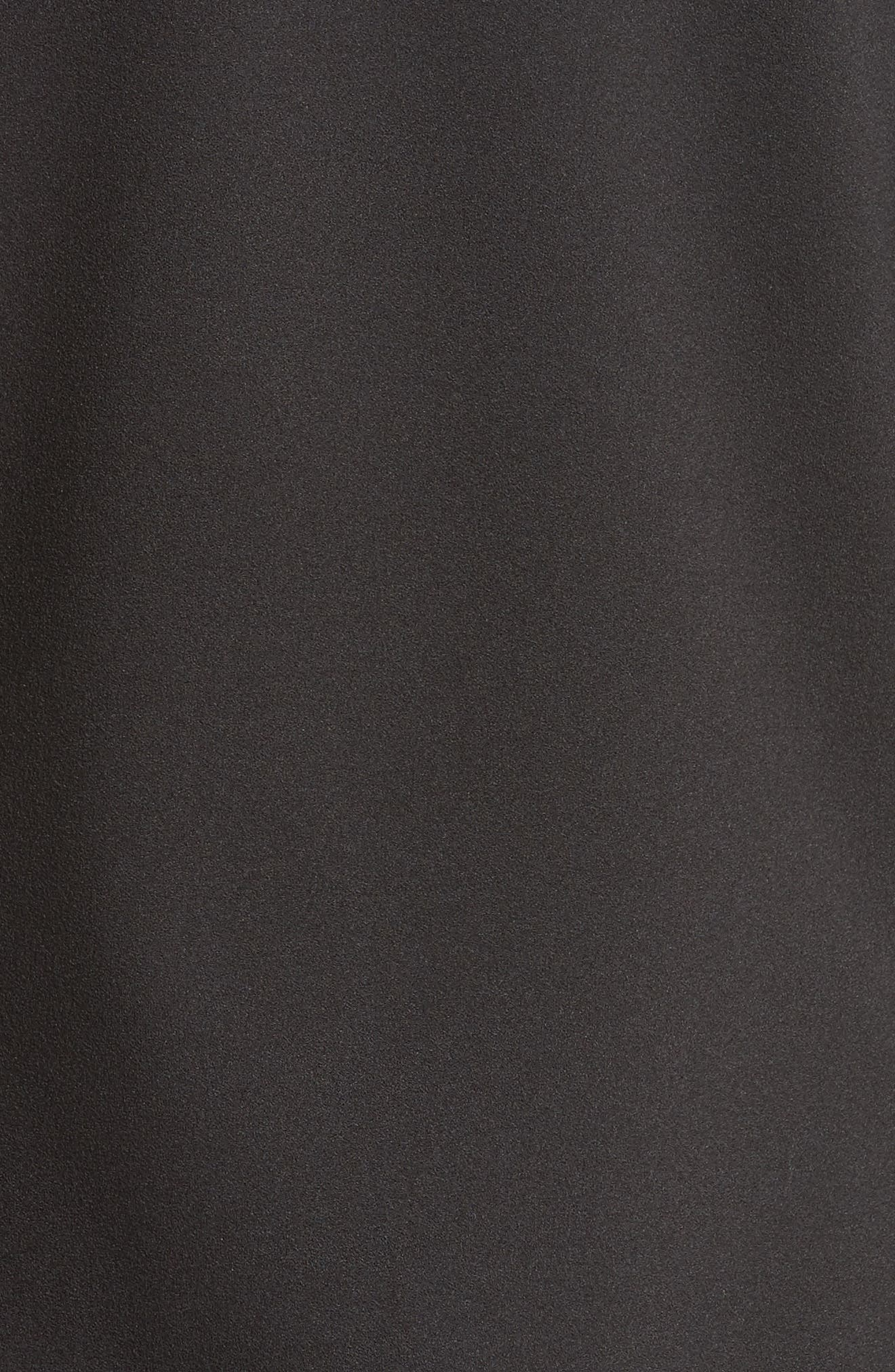 Shirred Stretch Crepe Top,                             Alternate thumbnail 5, color,                             Black